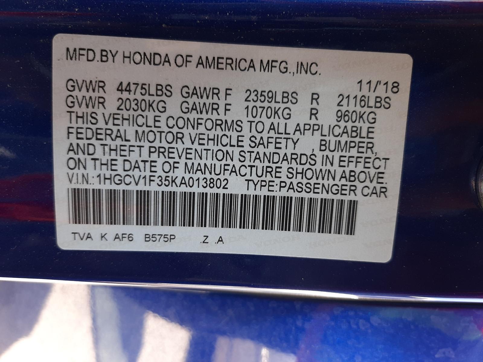 Honda Accord spo 2019