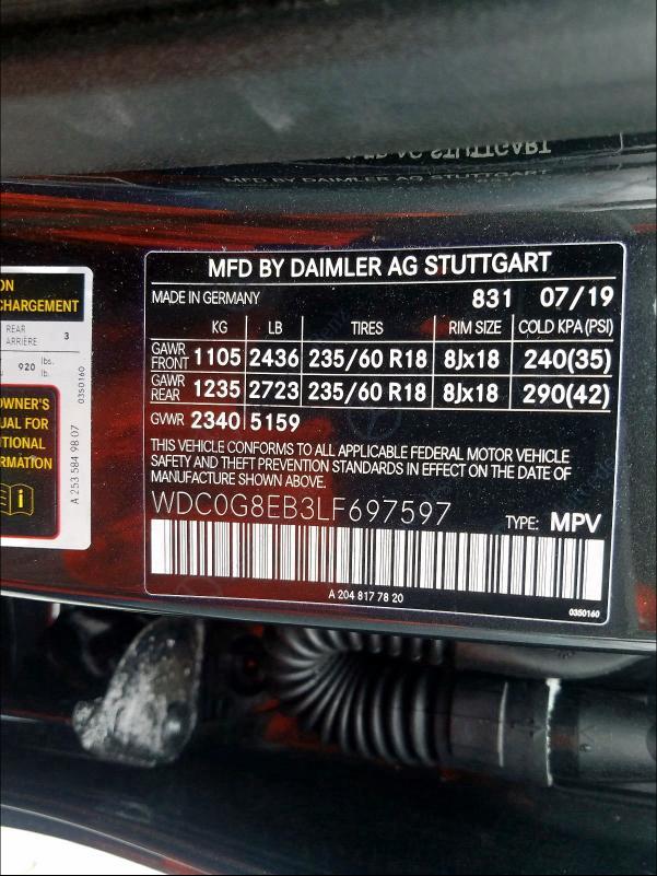 2020 Mercedes-benz Glc 300 4m 2.0. Lot 29433530 Vin WDC0G8EB3LF697597