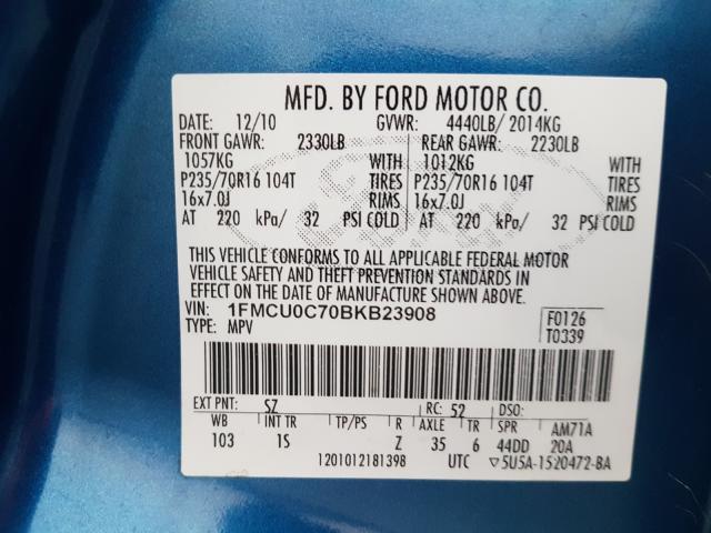 2011 FORD ESCAPE XLS 1FMCU0C70BKB23908