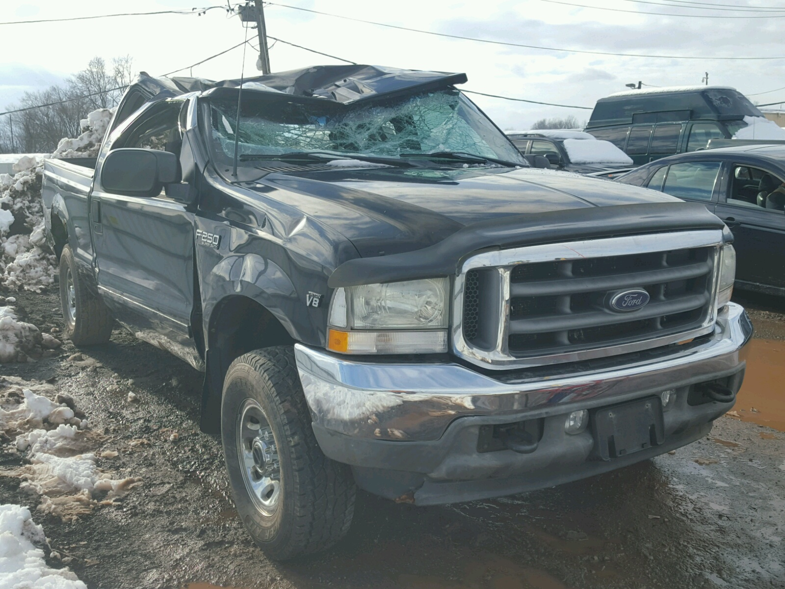 1ftnx21l22ec98756 2002 Charcoal Ford F250 Super On Sale In Nj 1961 F 250 4x4 Truck For 54l Left View