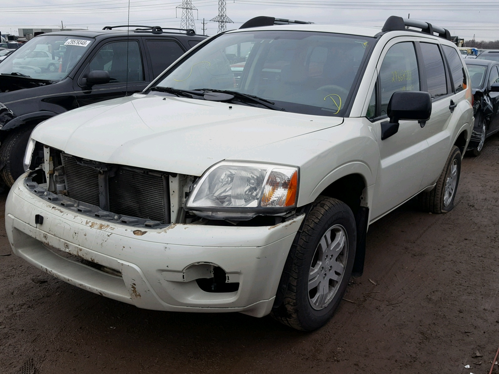 mitsubishi certificate salvage chicago en view white sale in right auto on lot north il l carfinder copart auctions endeavor online