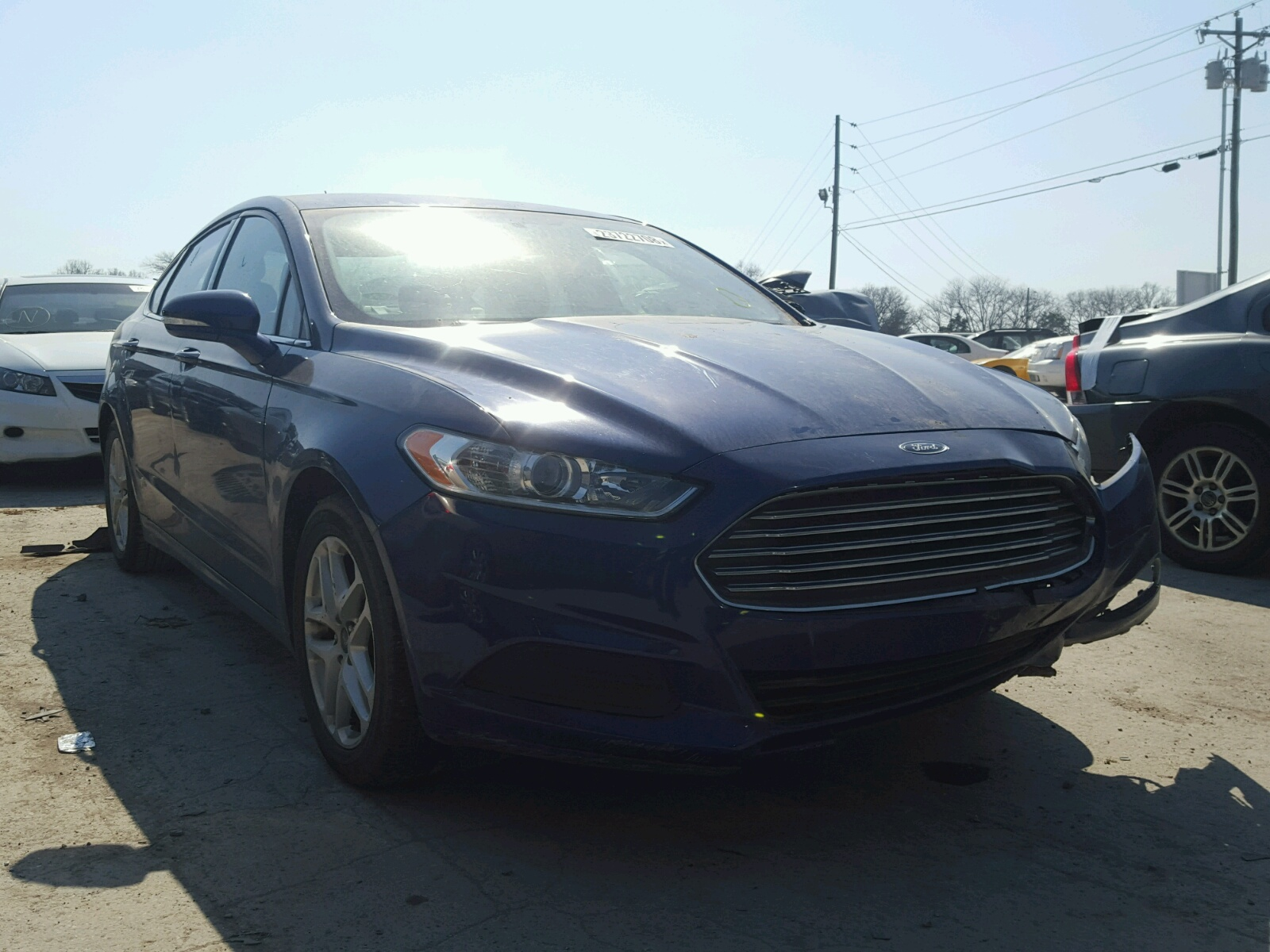 1fa6p0hd7e5364462 2014 Blue Ford Fusion Se On Sale In Tn 15l Left View