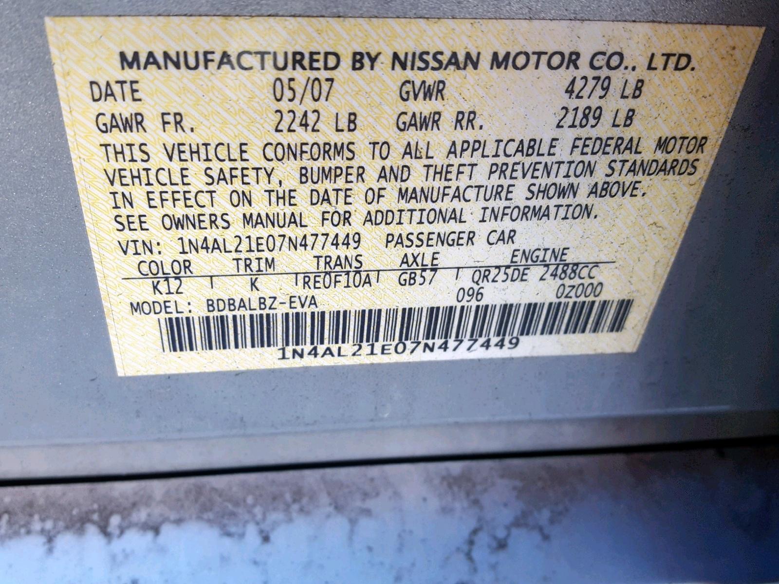 ... 2007 Nissan Altima 2.5