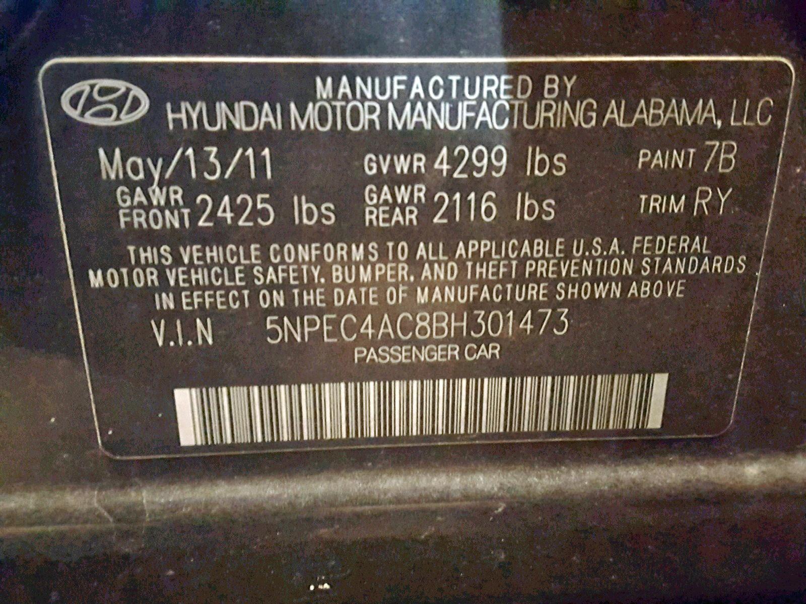 2011 Hyundai Sonata Se 2.4L
