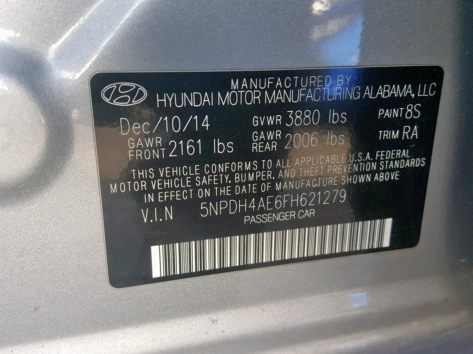 2015 Hyundai Elantra Se 1.8L