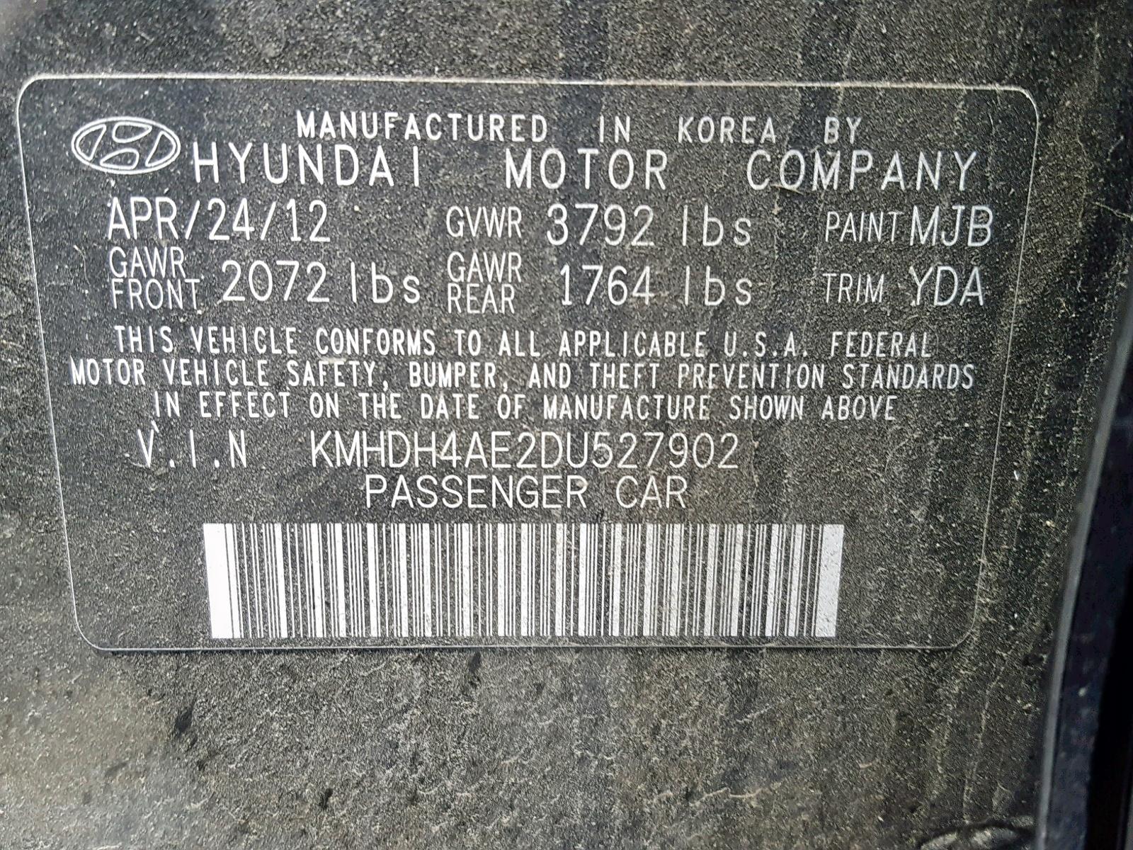 KMHDH4AE2DU527902 - 2013 Hyundai Elantra Gl 1.8L