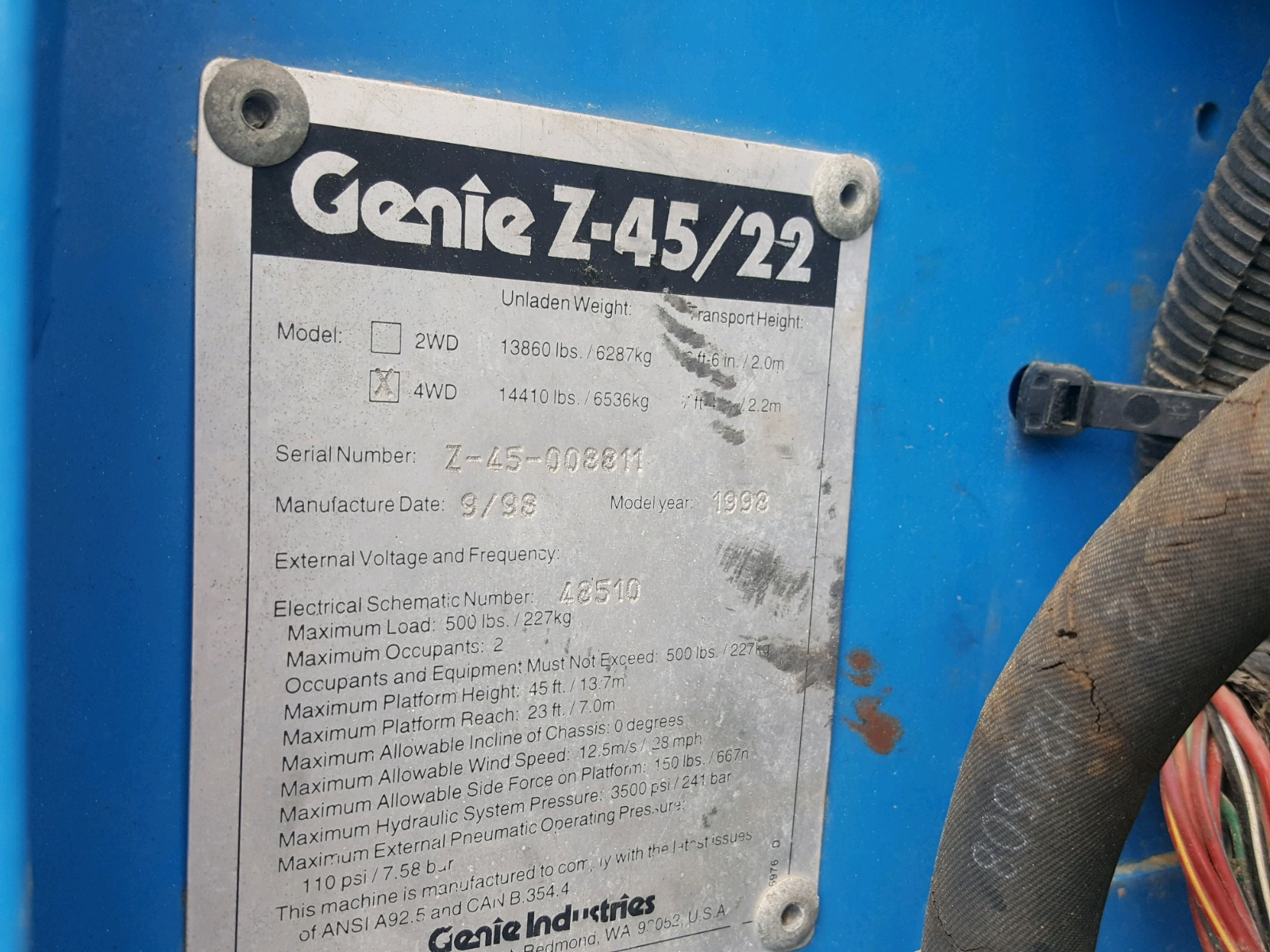 1998 Geni Lift Minor Dent Scratches Damage Z45008811 Sold Genie Wiring Diagrams Hydraulic And Pneumatic