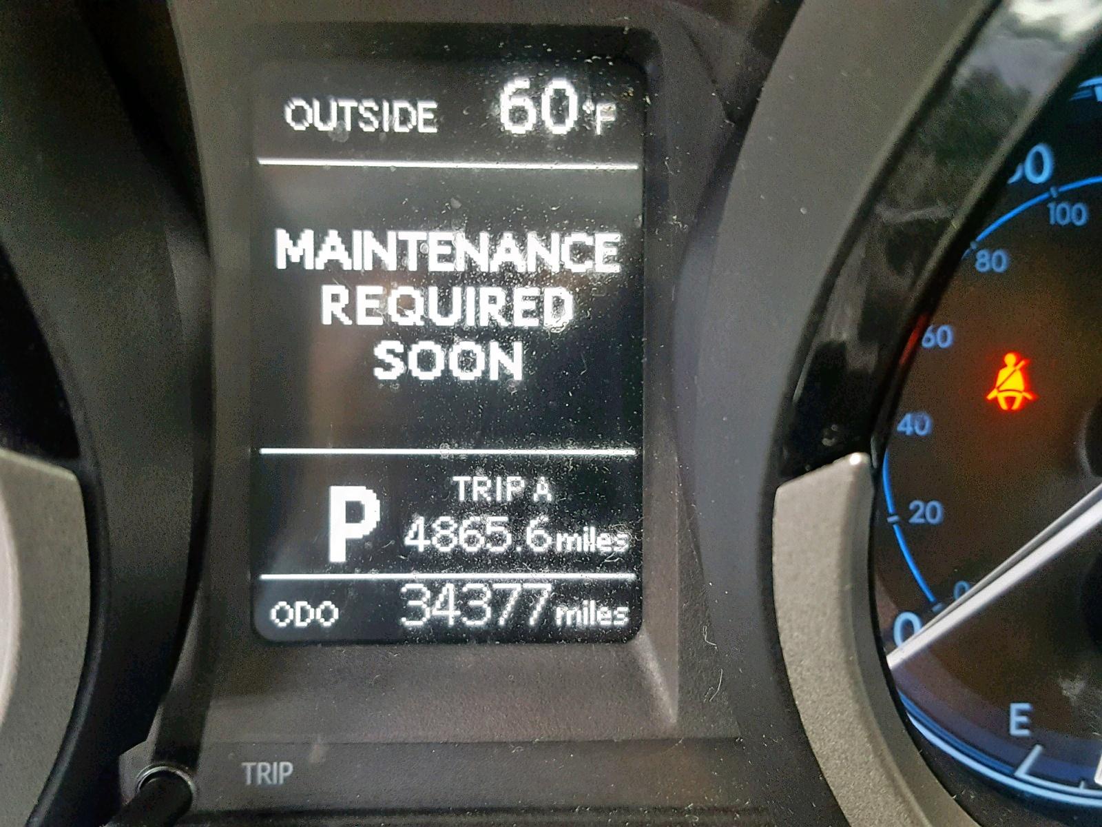 maintenance required soon toyota corolla 2015