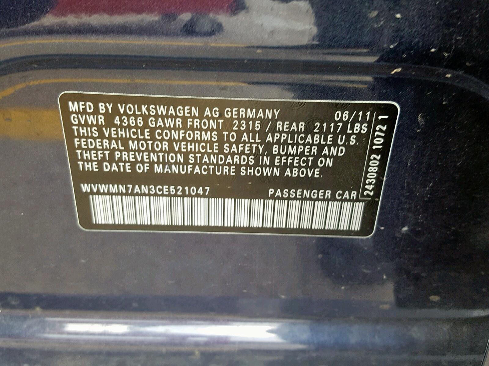 WVWMN7AN3CE521047 - 2012 Volkswagen Cc Sport 2.0L