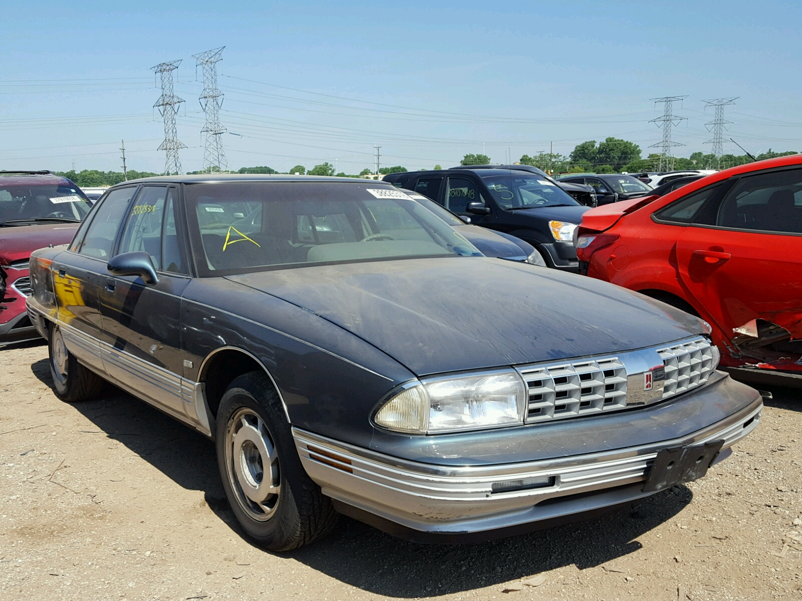 1g3cx53l8p4312937 1993 Blue Oldsmobile 98 Regency On Sale In Il 1941 Ninety Eight 38l Left View