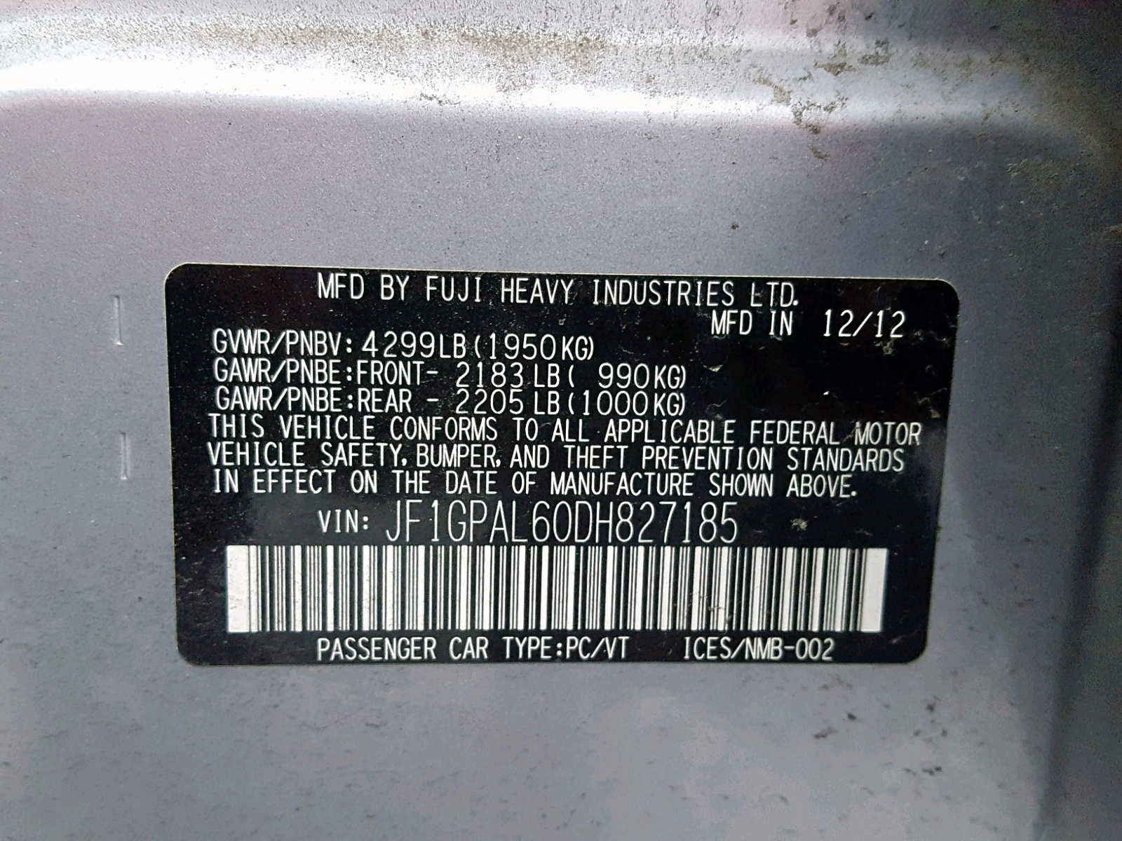 JF1GPAL60DH827185 - 2013 Subaru Impreza Sp 2.0L