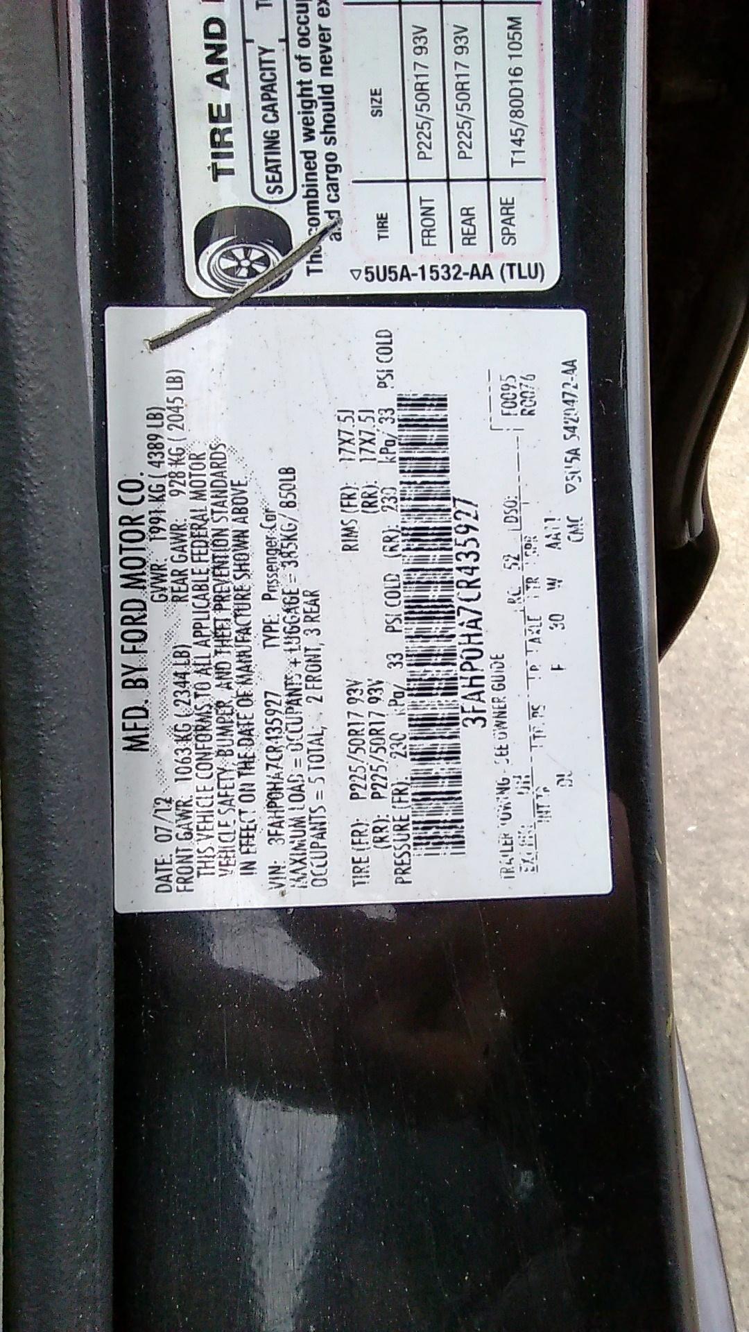 3FAHP0HA7CR435927 - 2012 Ford Fusion Se 2.5L