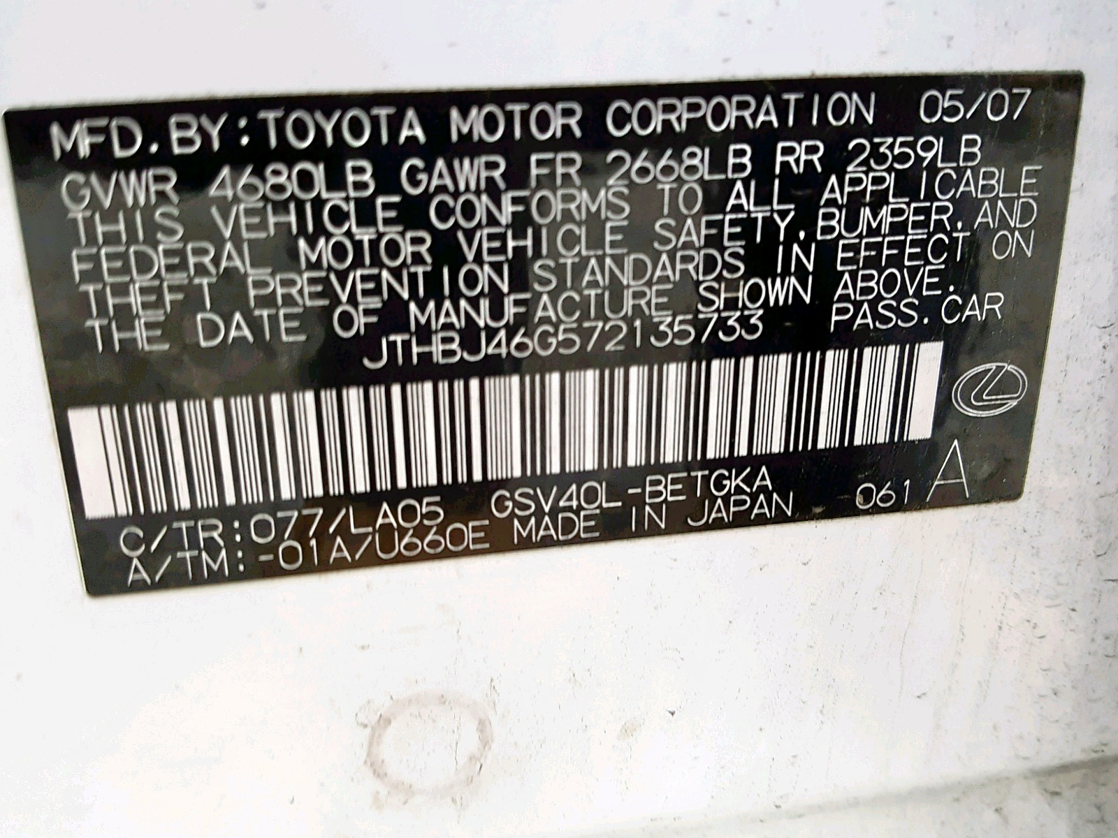2007 Lexus Es 350 3 5L 6 in CA - Antelope (JTHBJ46G572135733