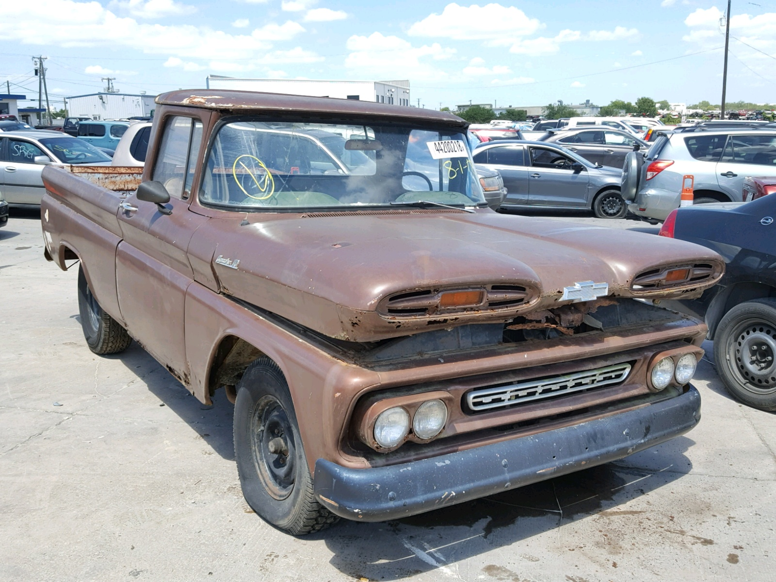 1c144k137493 1961 Brown Chevrolet Apache On Sale In Tx Dallas Pick Up Left View