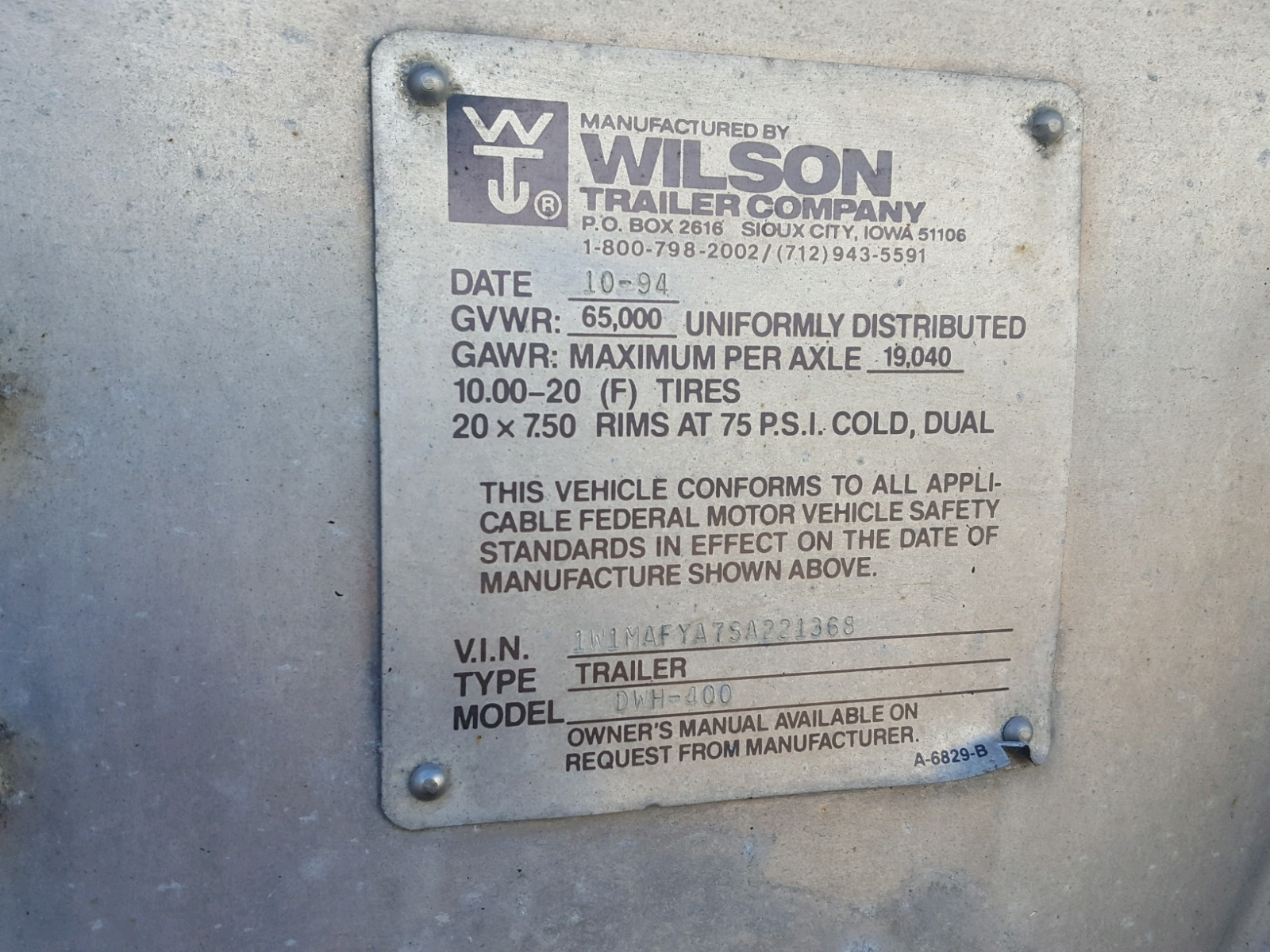 Wilson Trailer Sioux City 2016 Grain Stocknum Ts2673 Plug Wiring 1995 For Sale At Copart Elgin Il Lot 45152528