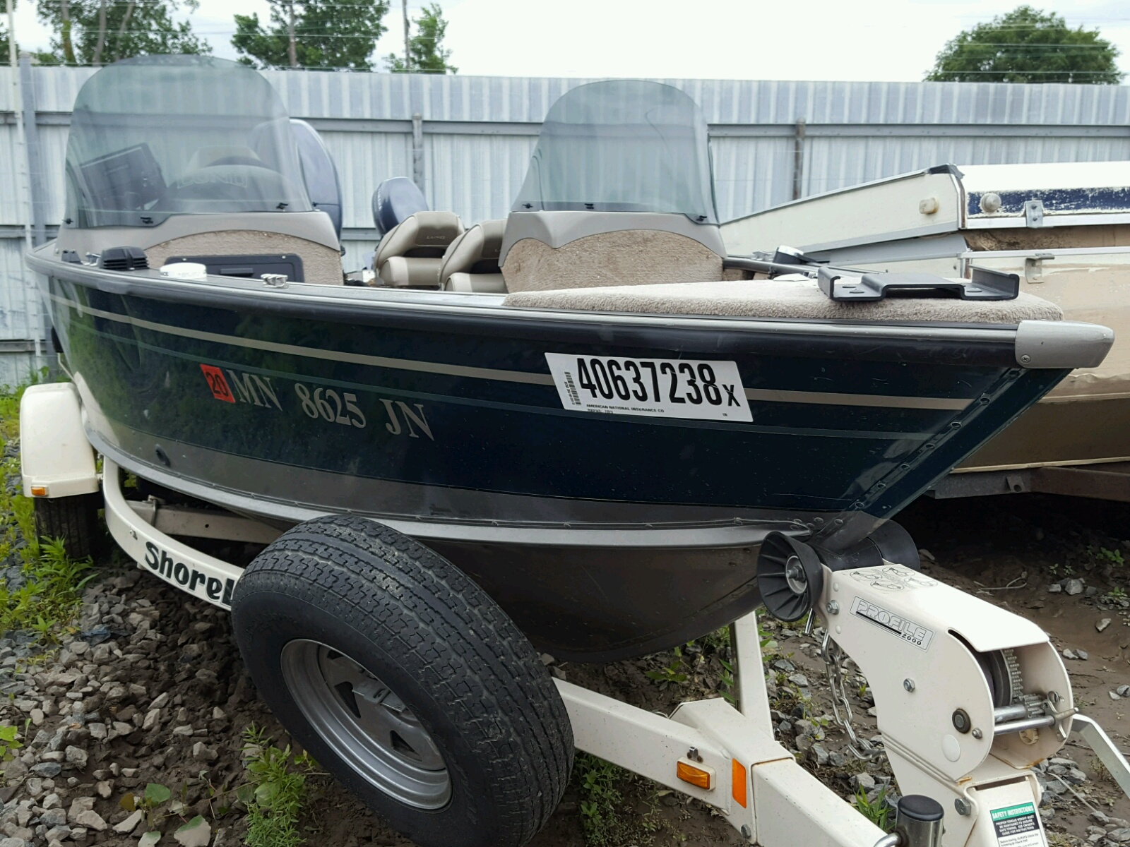 Salvage 2003 Lund BOAT WITH TRAILER for sale