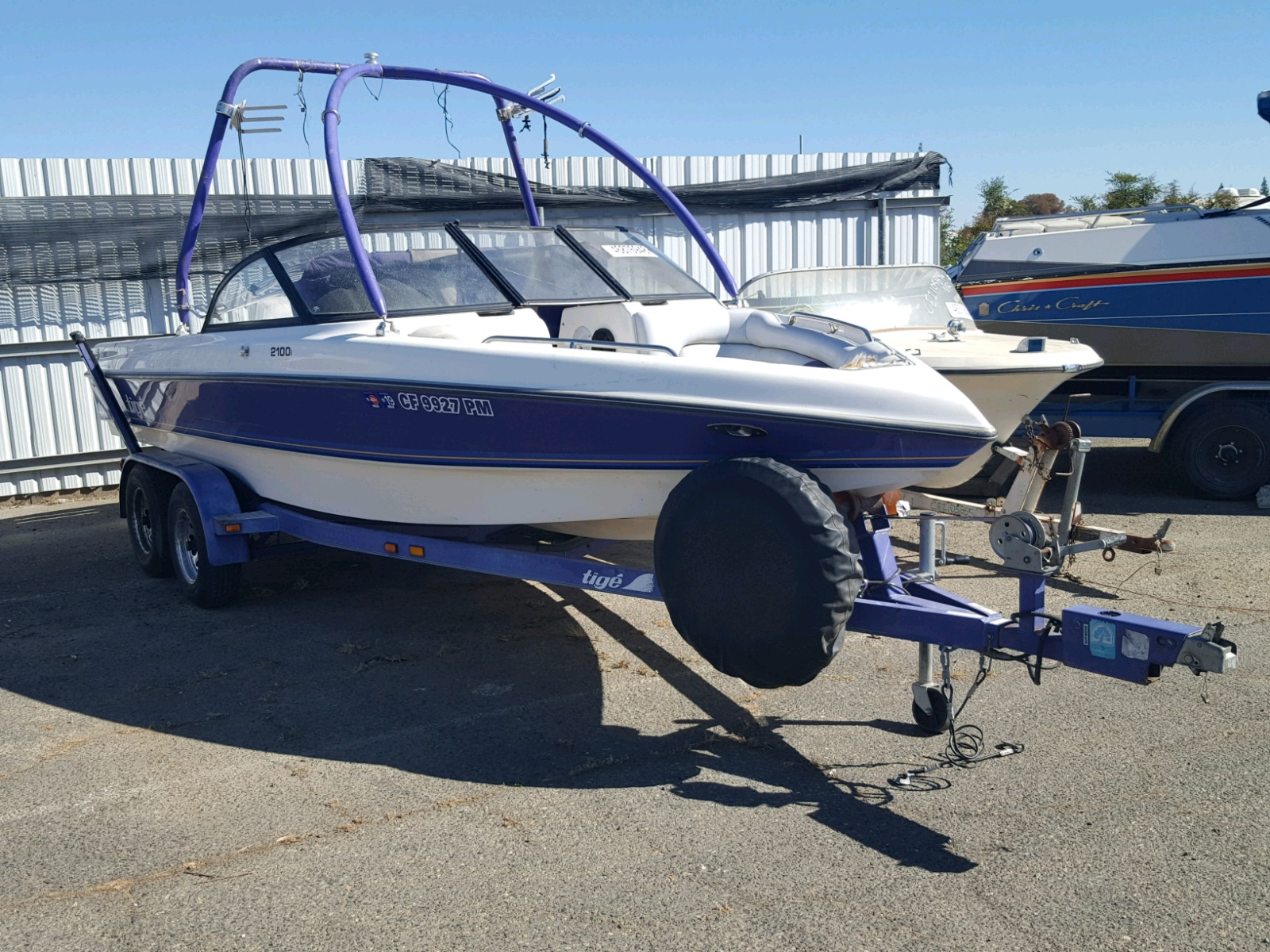 Salvage 1999 Tiger MARINE TRAILER for sale
