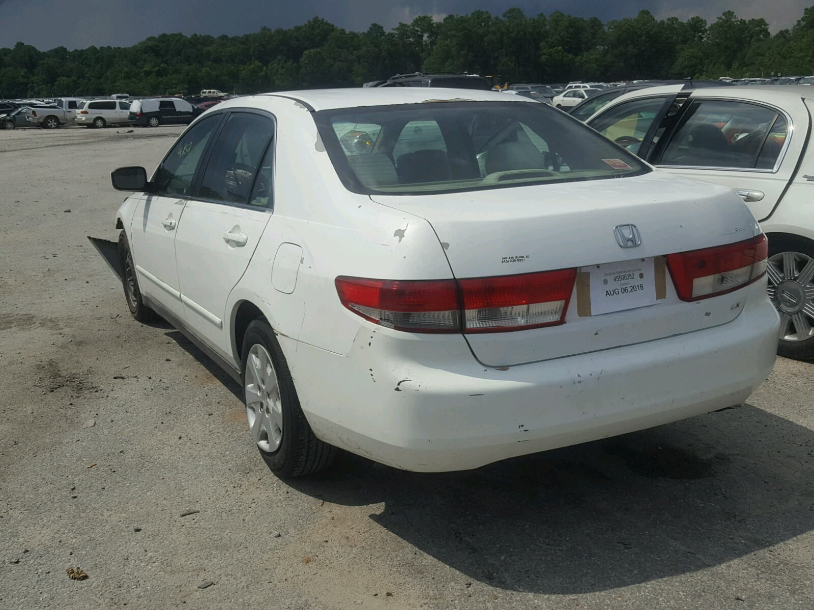 3hgcm563x3g709469 2003 White Honda Accord Lx On Sale In Ga Tail Light 24l Angle View