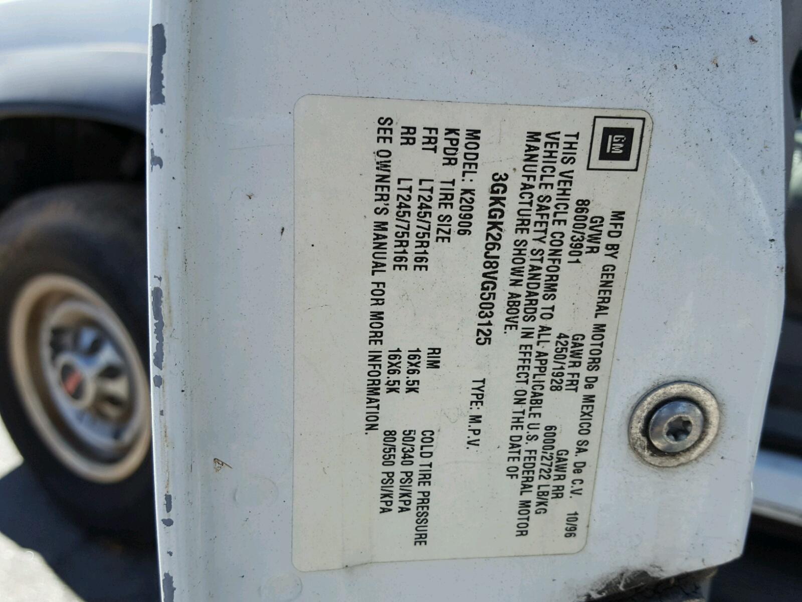 ... 3GKGK26J8VG503125 - 1997 Gmc Suburban K 7.4L