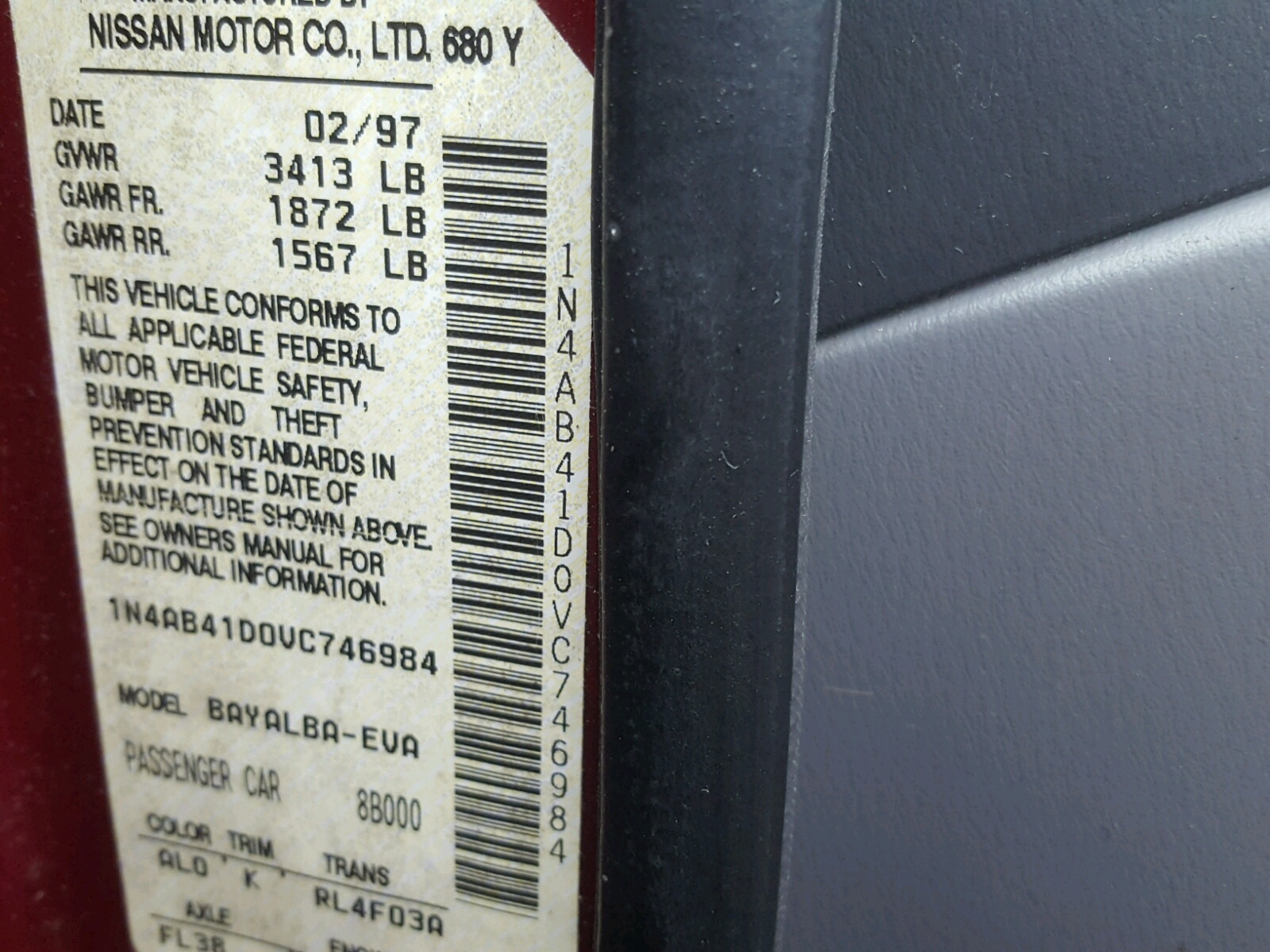1n4ab41d0vc746984 1997 Red Nissan Sentra Xe On Sale In Pa Gxe Manual 16l