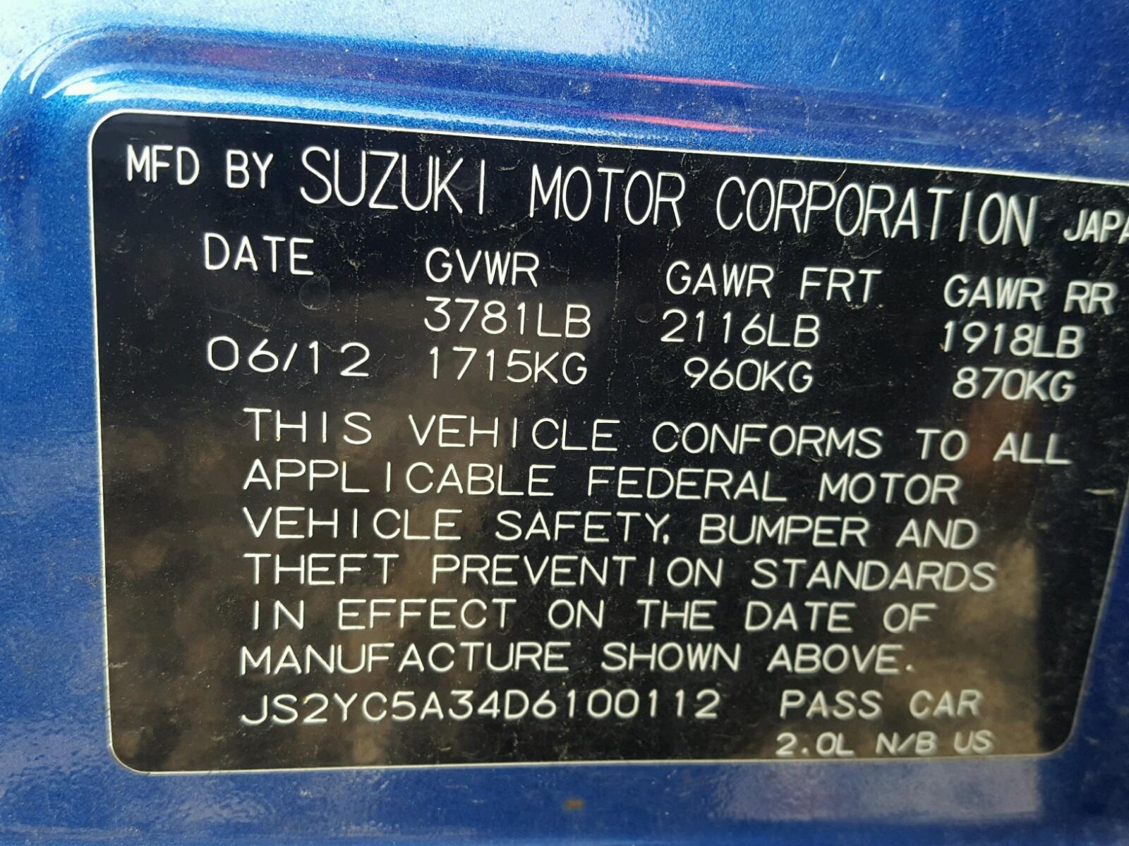 JS2YC5A34D6100112 - 2013 Suzuki Sx4 Le 2.0L