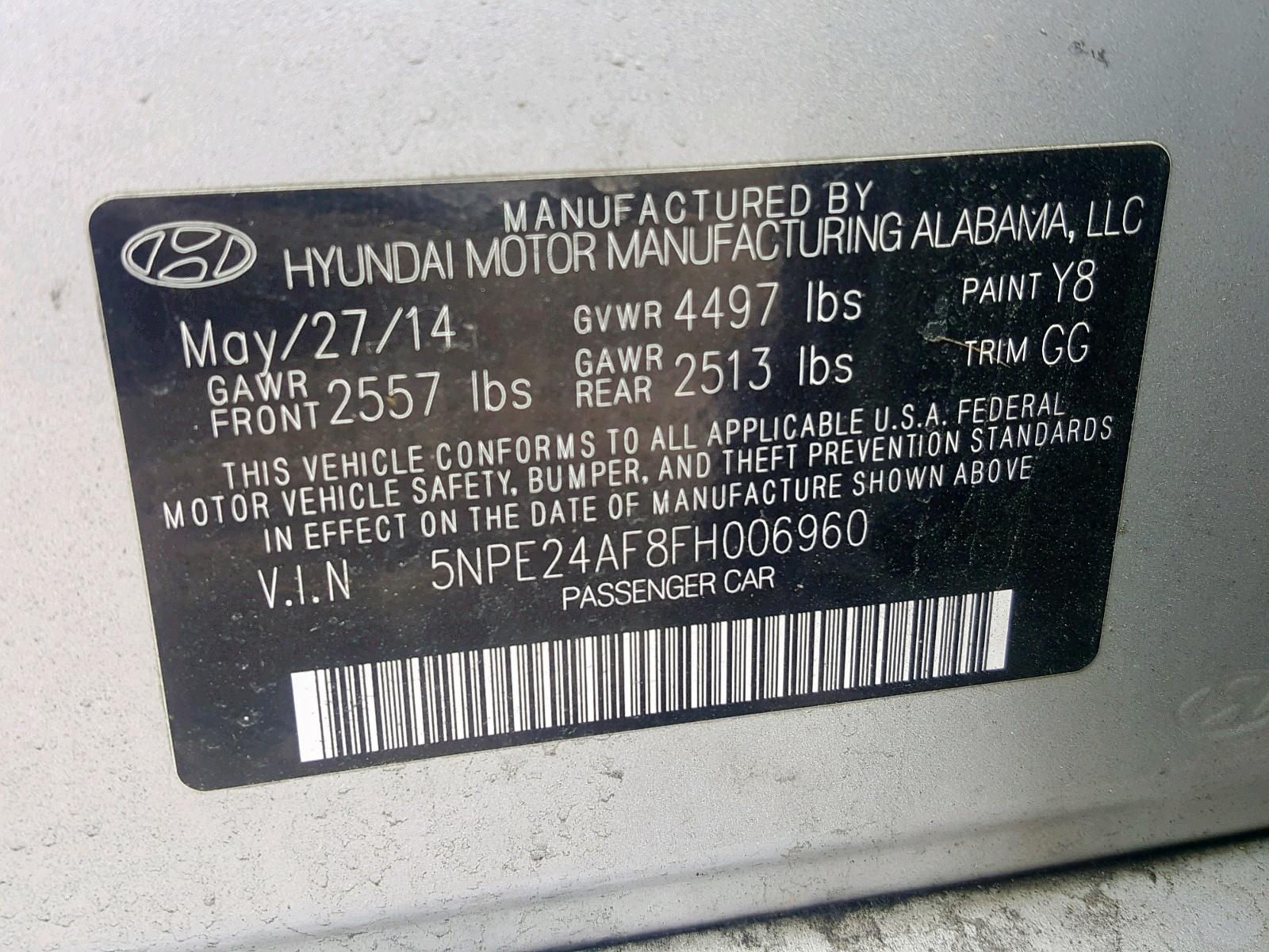 5NPE24AF8FH006960 - 2015 Hyundai Sonata Se 2.4L