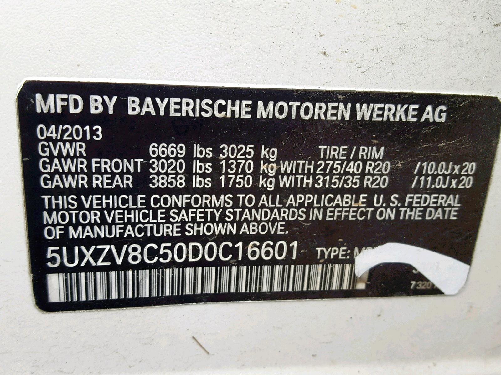 5UXZV8C50D0C16601 - 2013 Bmw X5 Xdrive5 4.4L