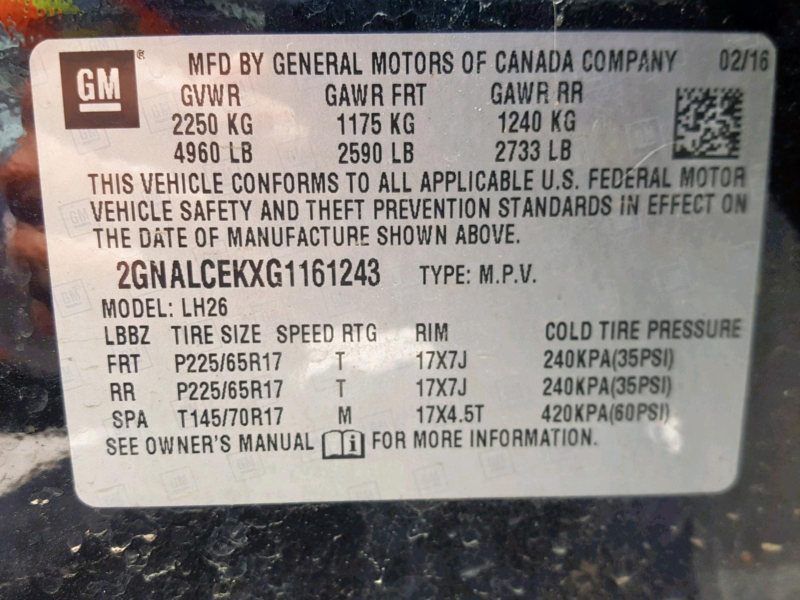 2016 Chevrolet Equinox Lt 2.4L
