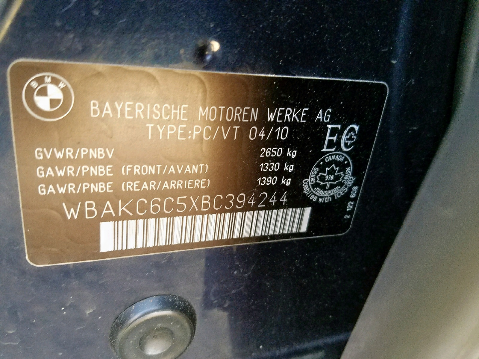 WBAKC6C5XBC394244 - 2011 Bmw 7 Series 4.4L