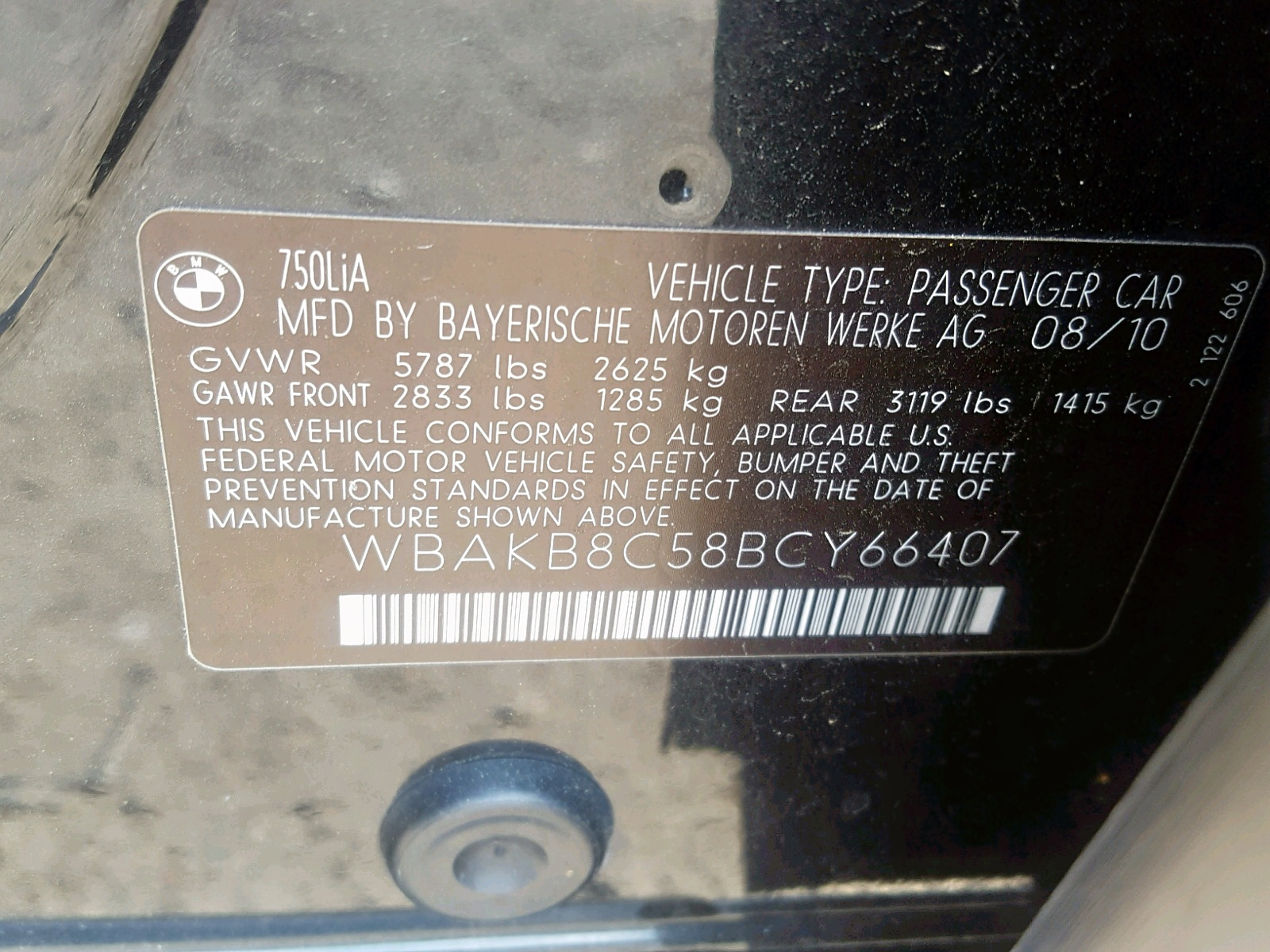 WBAKB8C58BCY66407 - 2011 Bmw 750 4.4L