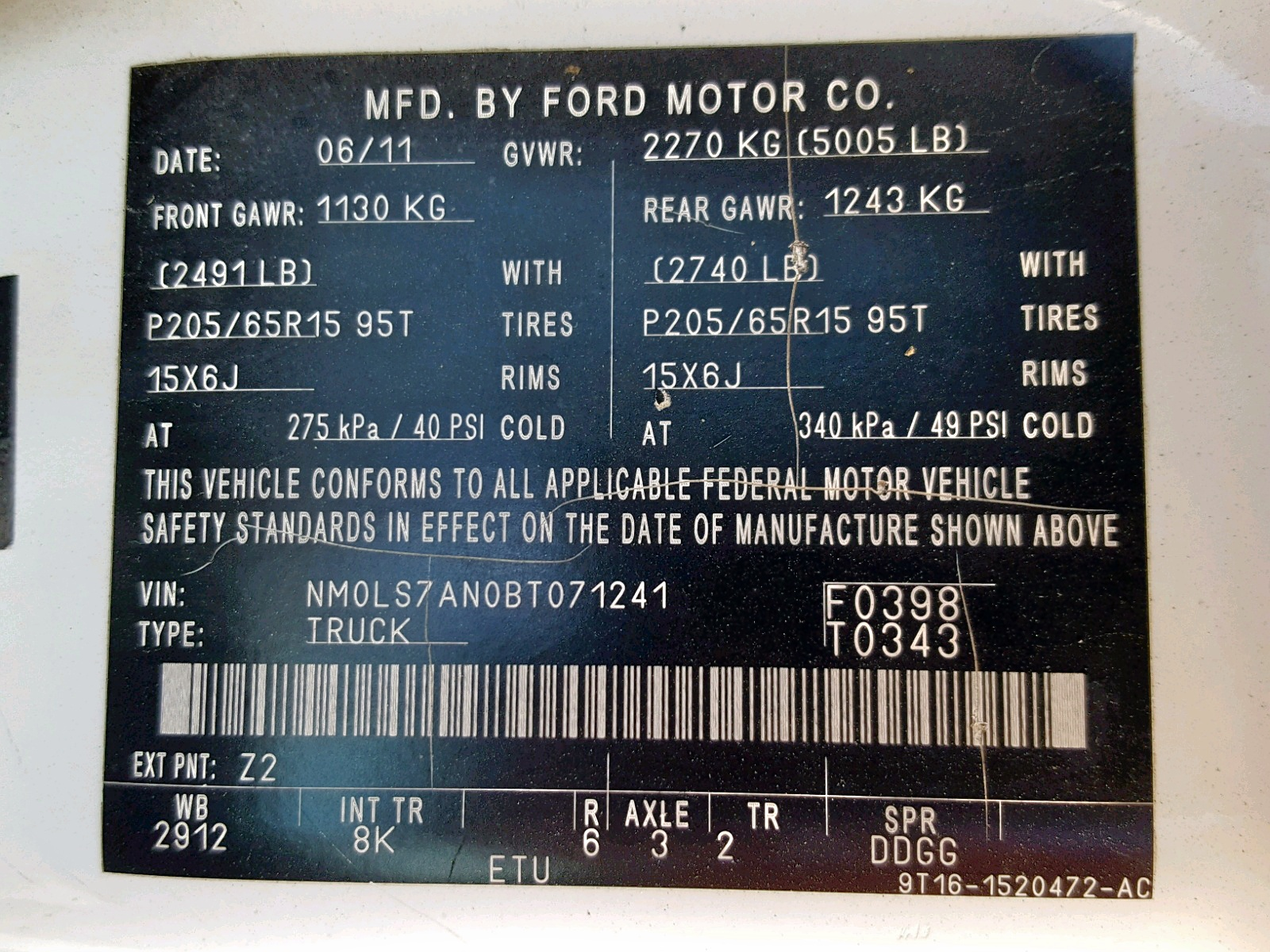 NM0LS7AN0BT071241 - 2011 Ford Transit Co 2.0L