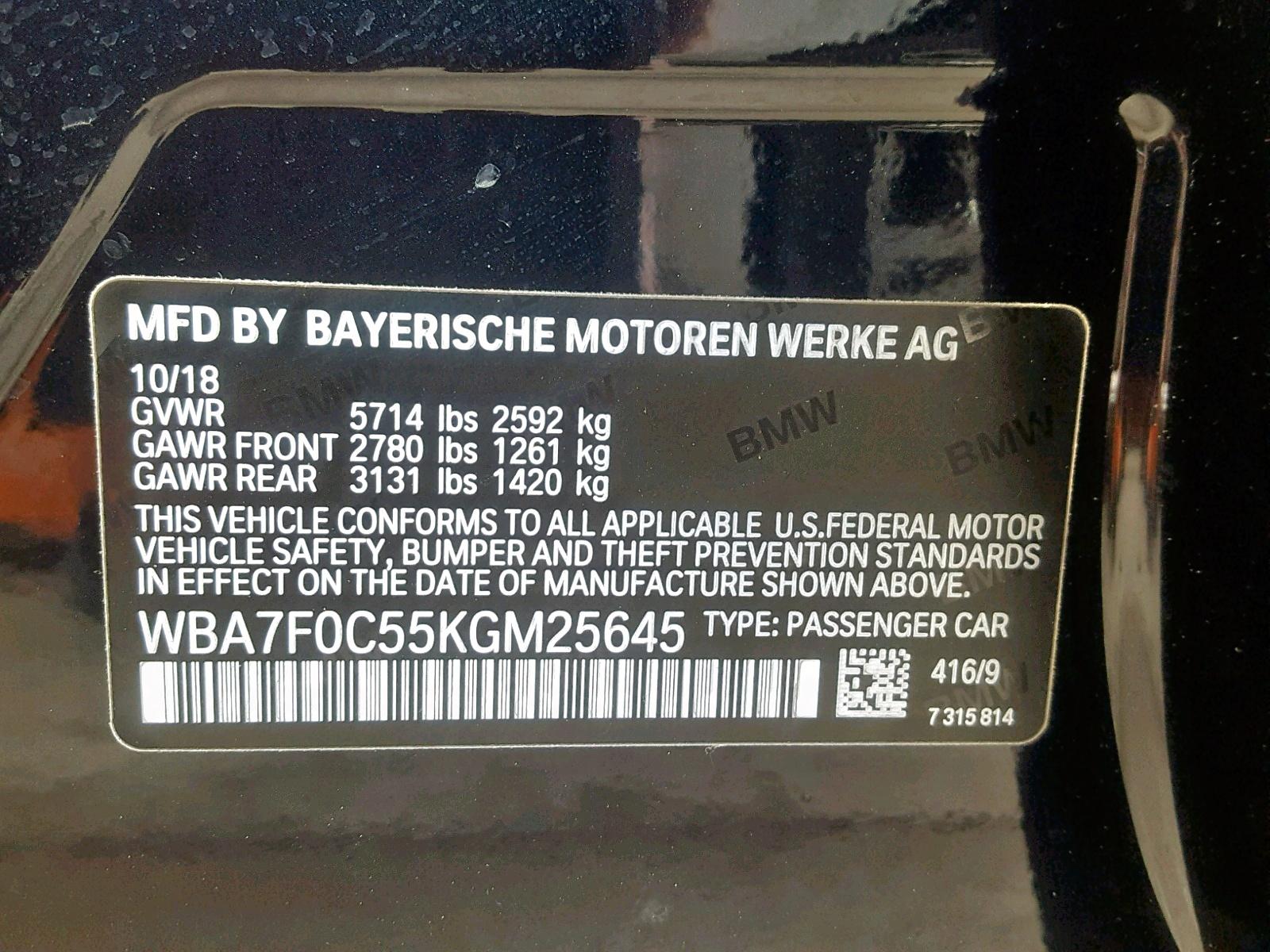 WBA7F0C55KGM25645 - 2019 Bmw 750 I 4.4L