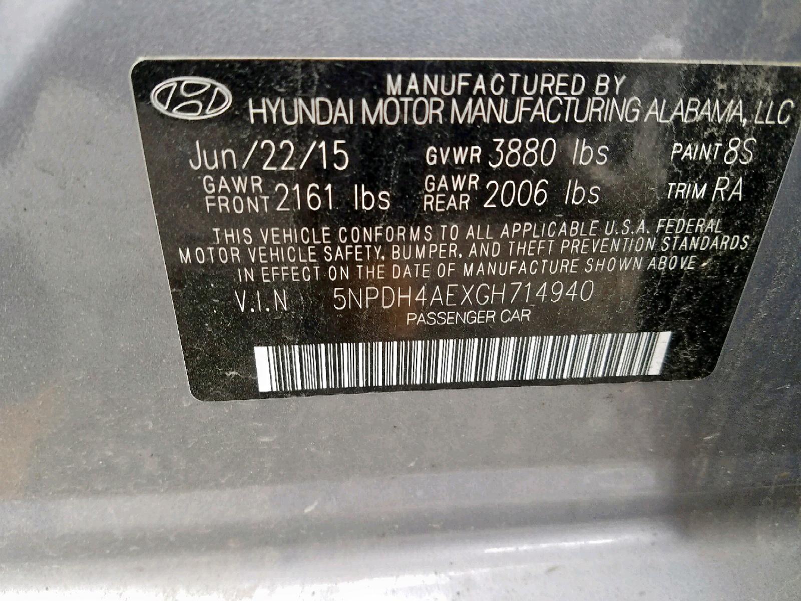 5NPDH4AEXGH714940 - 2016 Hyundai Elantra Se 1.8L