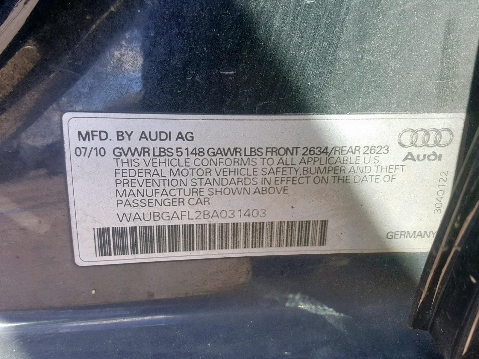 WAUBGAFL2BA031403 - 2011 Audi S4 Premium 3.0L