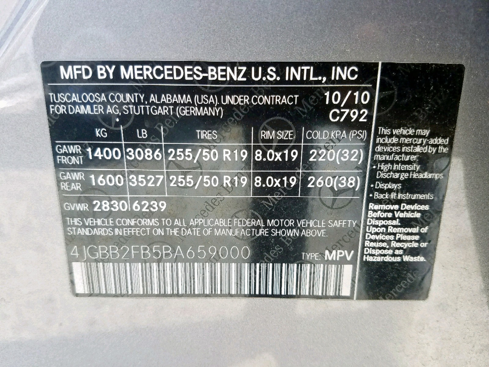 4JGBB2FB5BA659000 - 2011 Mercedes-Benz Ml 350 Blu 3.0L
