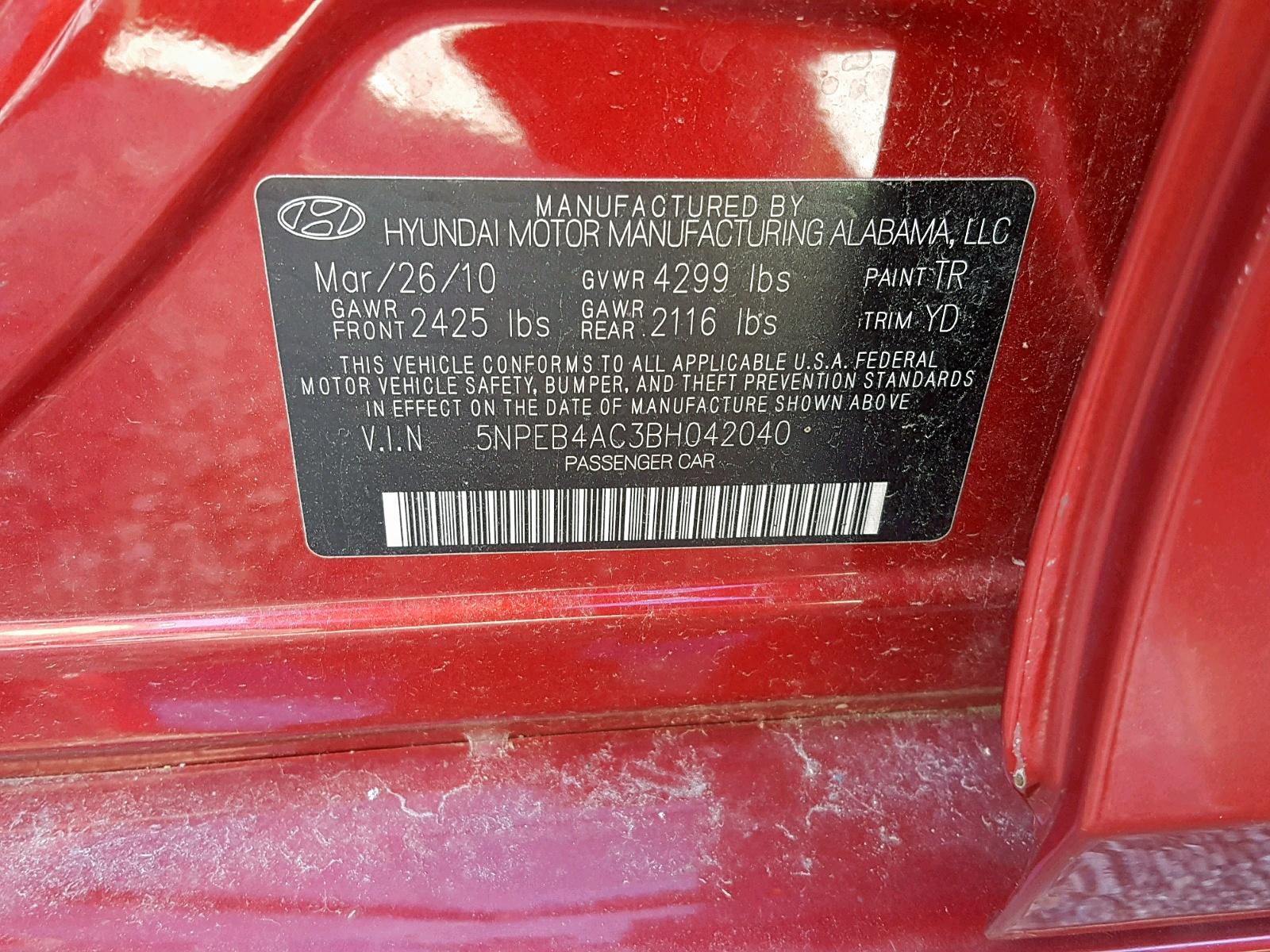 5NPEB4AC3BH042040 - 2011 Hyundai Sonata Gls 2.4L