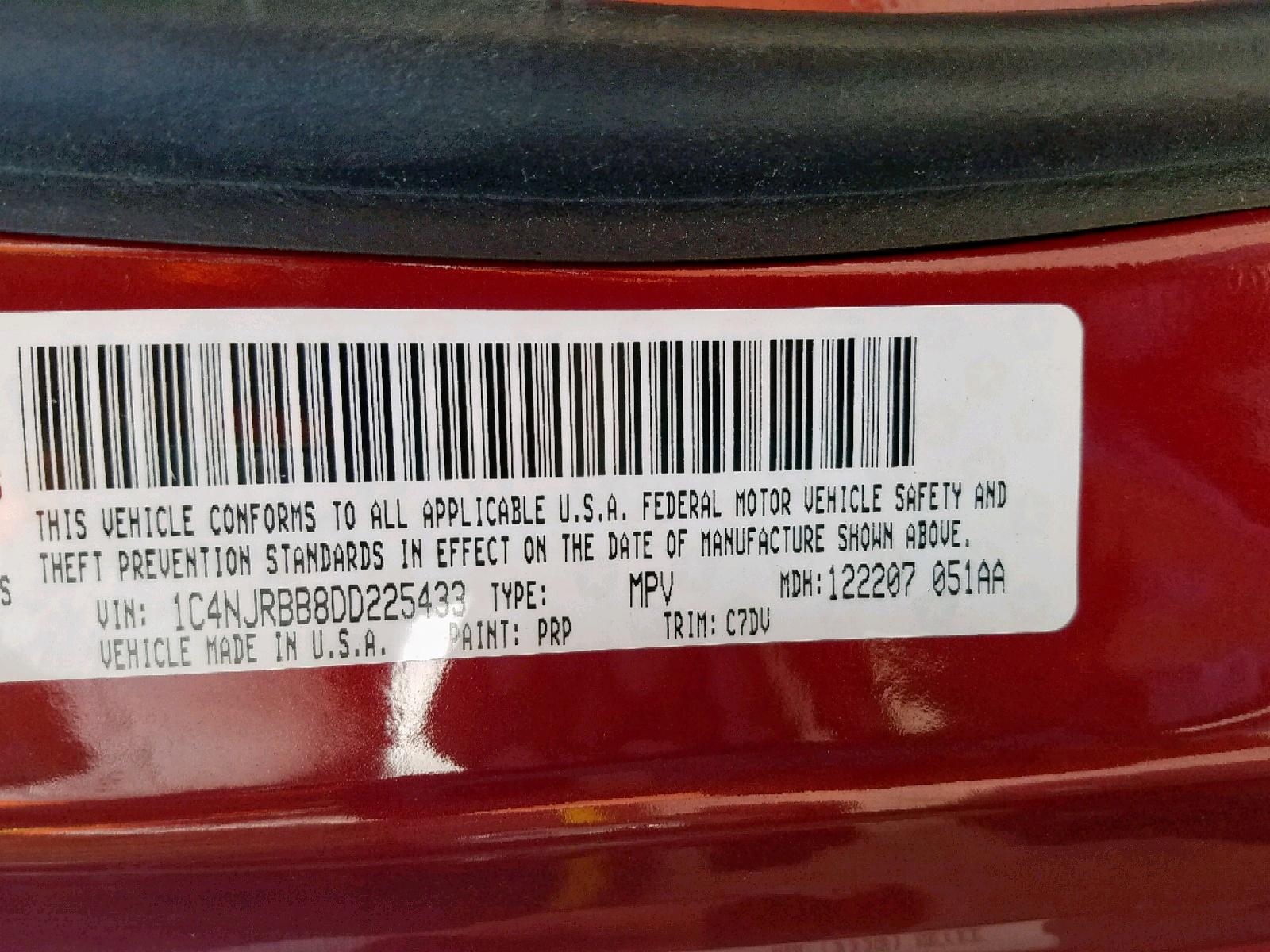 1C4NJRBB8DD225433 - 2013 Jeep Patriot Sp 2.4L