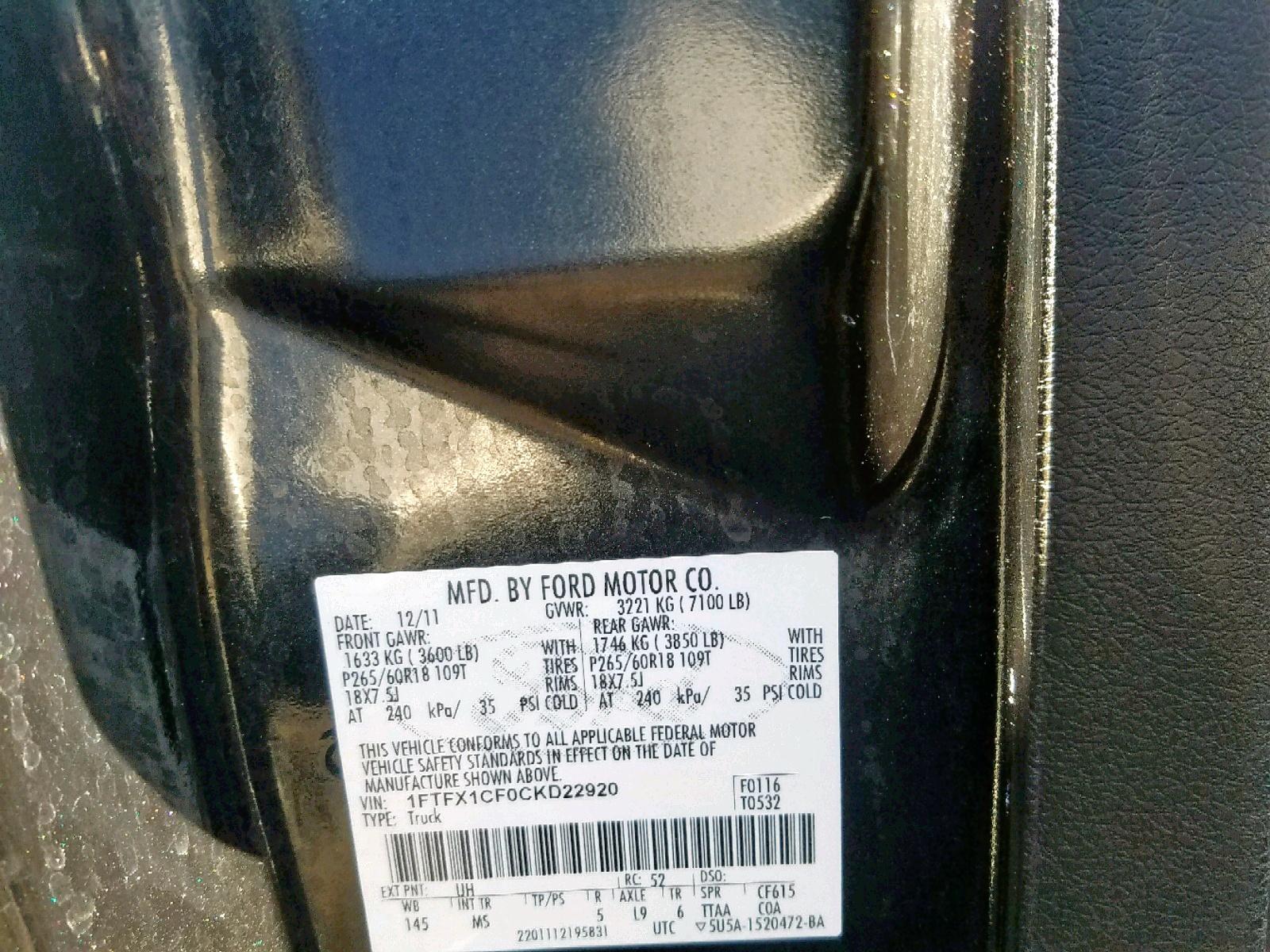 1FTFX1CF0CKD22920 - 2012 Ford F150 Super 5.0L