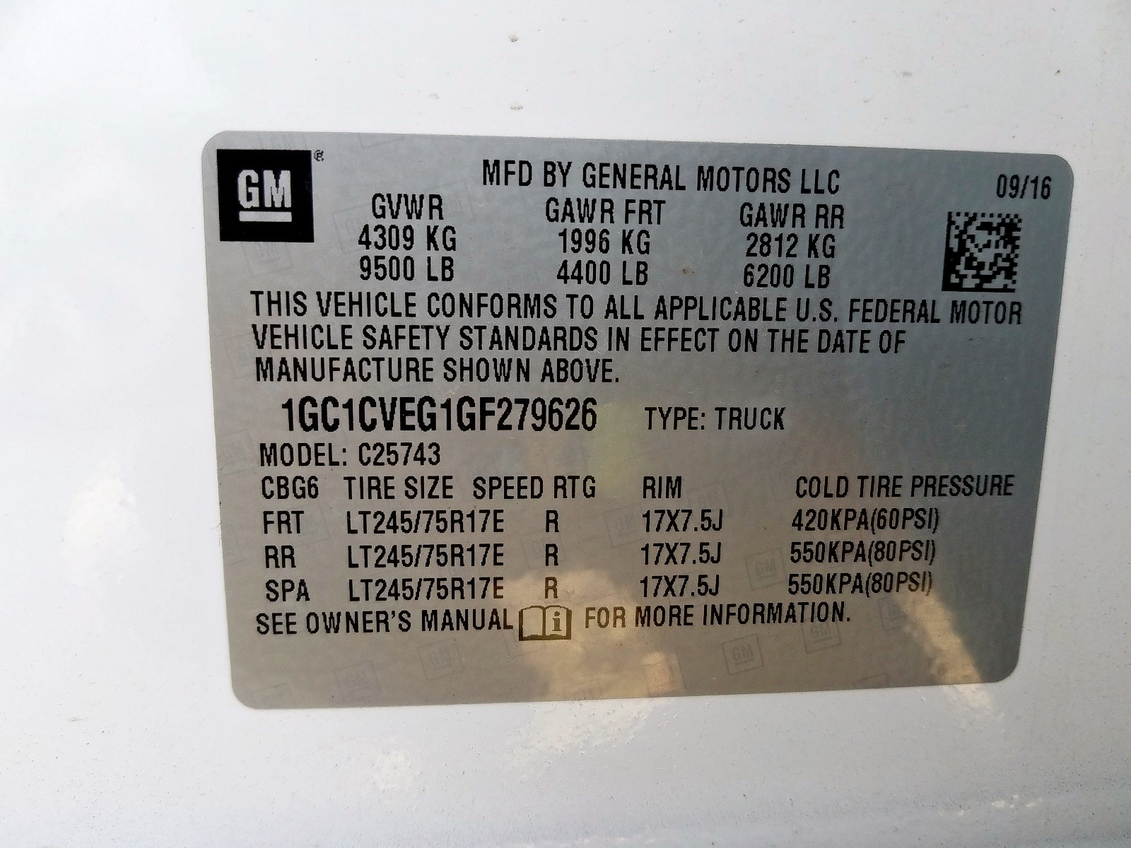 1GC1CVEG1GF279626 - 2016 Chevrolet Silverado 6.0L