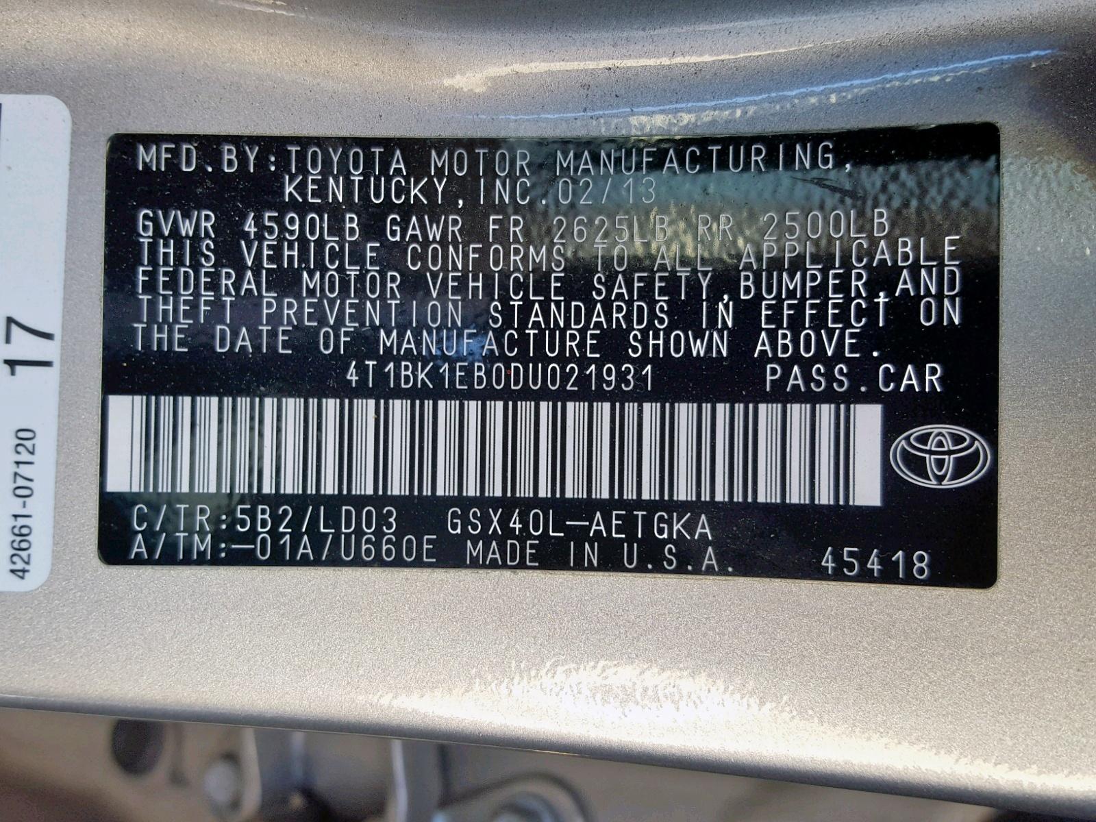 4T1BK1EB0DU021931 - 2013 Toyota Avalon Bas 3.5L