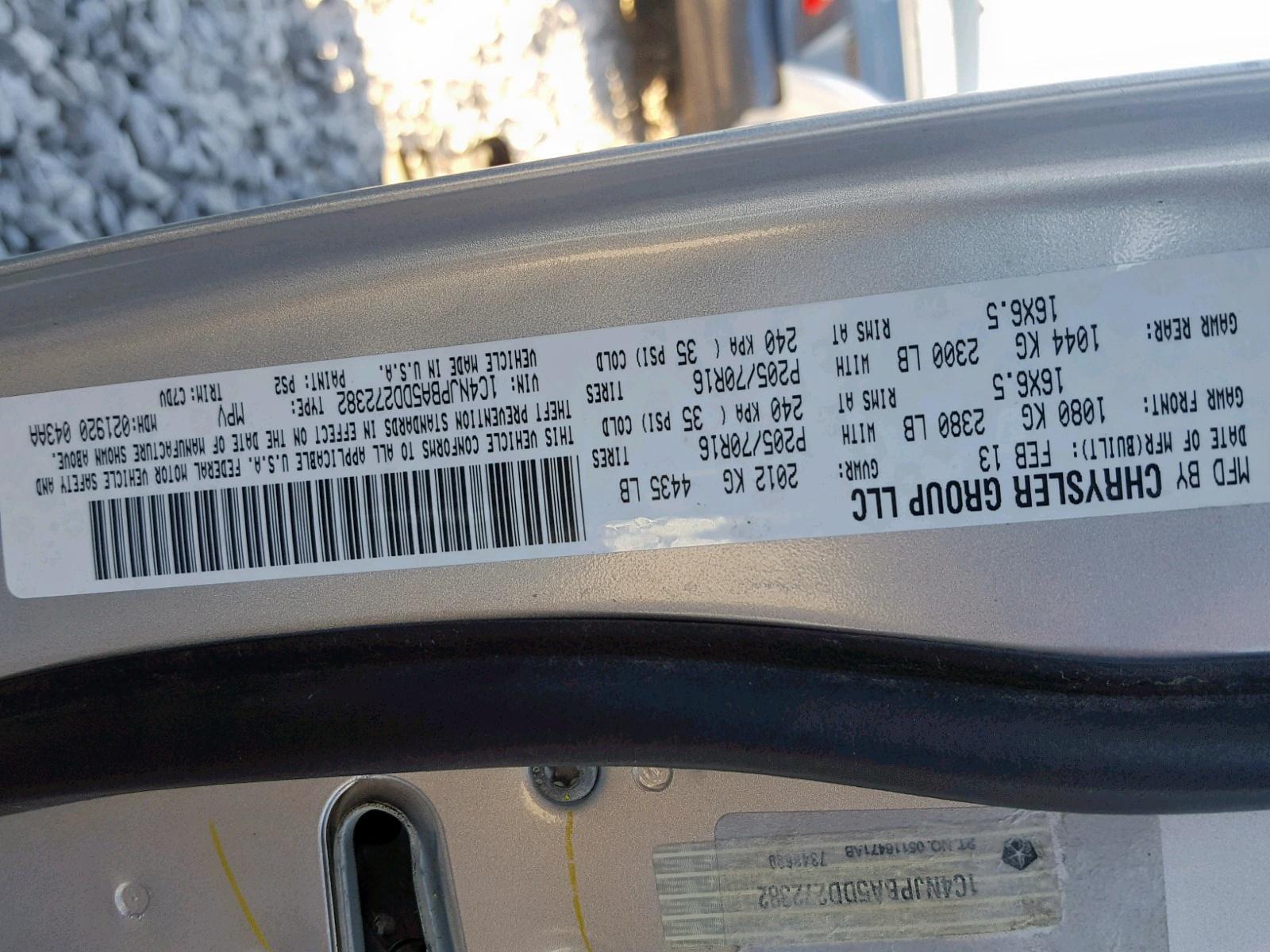1C4NJPBA5DD272382 - 2013 Jeep Patriot Sp 2.0L