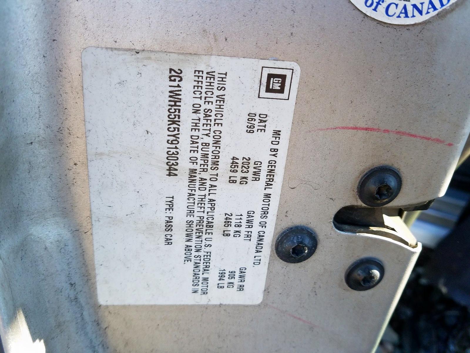 2G1WH55K5Y9130344 - 2000 Chevrolet Impala Ls 3.8L