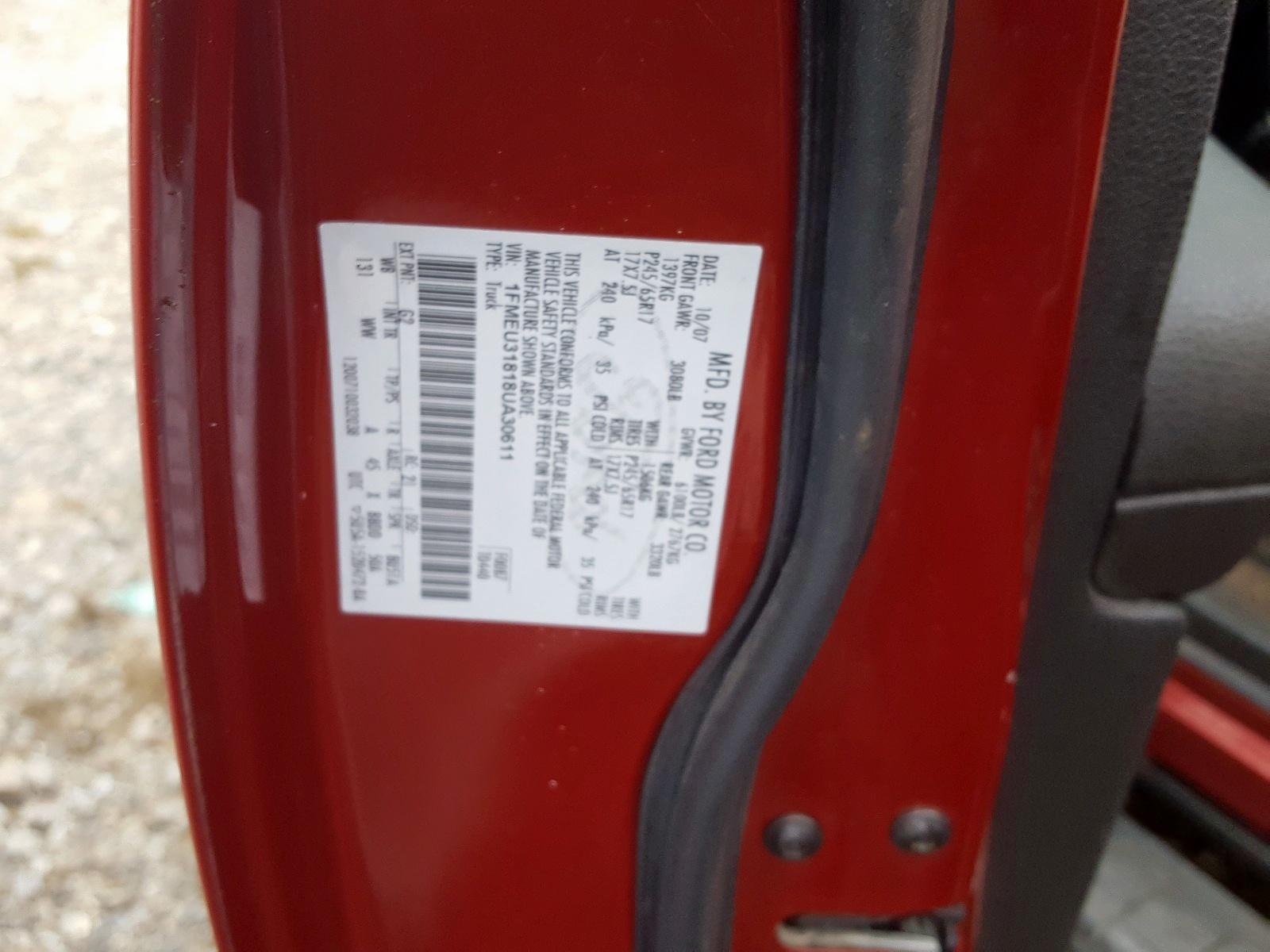 1FMEU31818UA30611 - 2008 Ford Explorer S 4.6L
