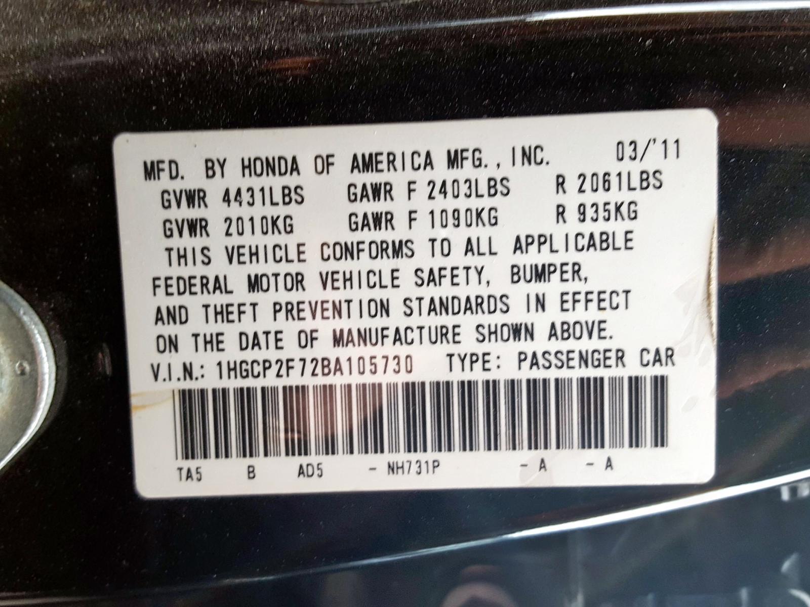 2011 Honda Accord Ex 2.4L