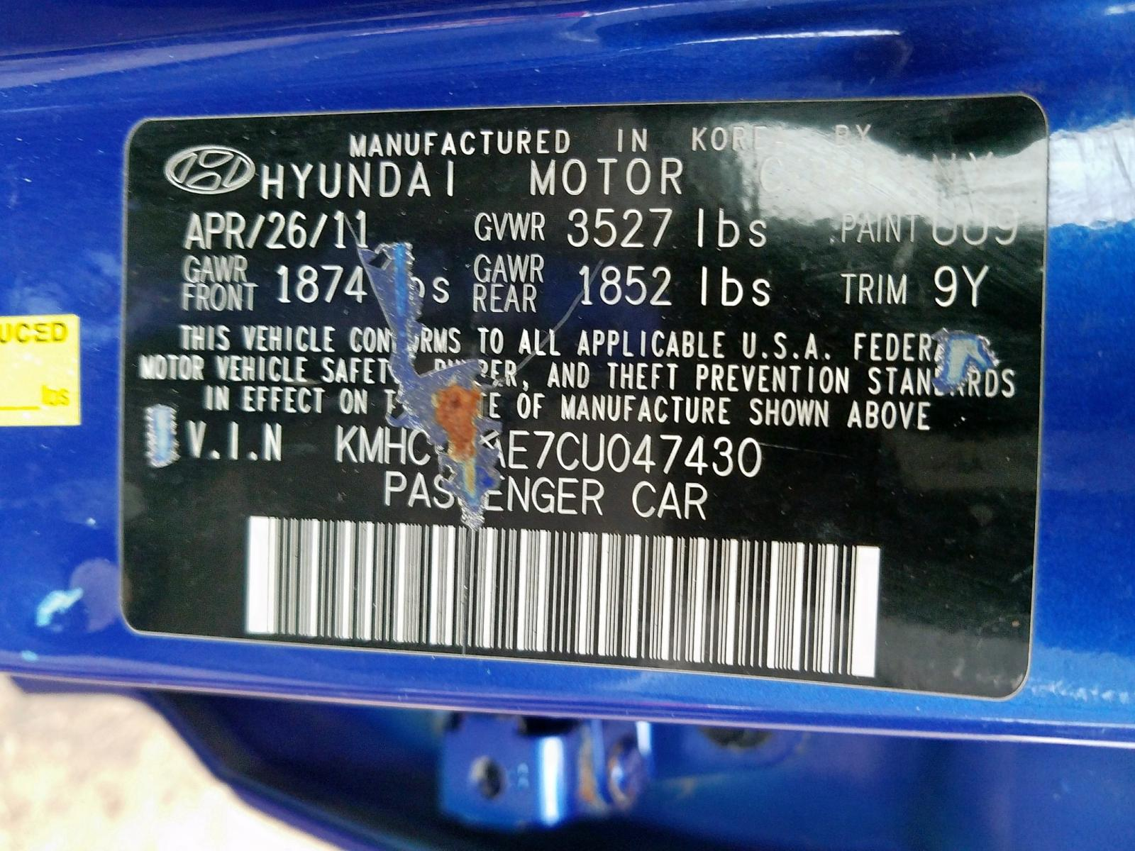 Hyundai Accent Gls 2012 Kmhct4ae7cu047430 Auto Auction Spot