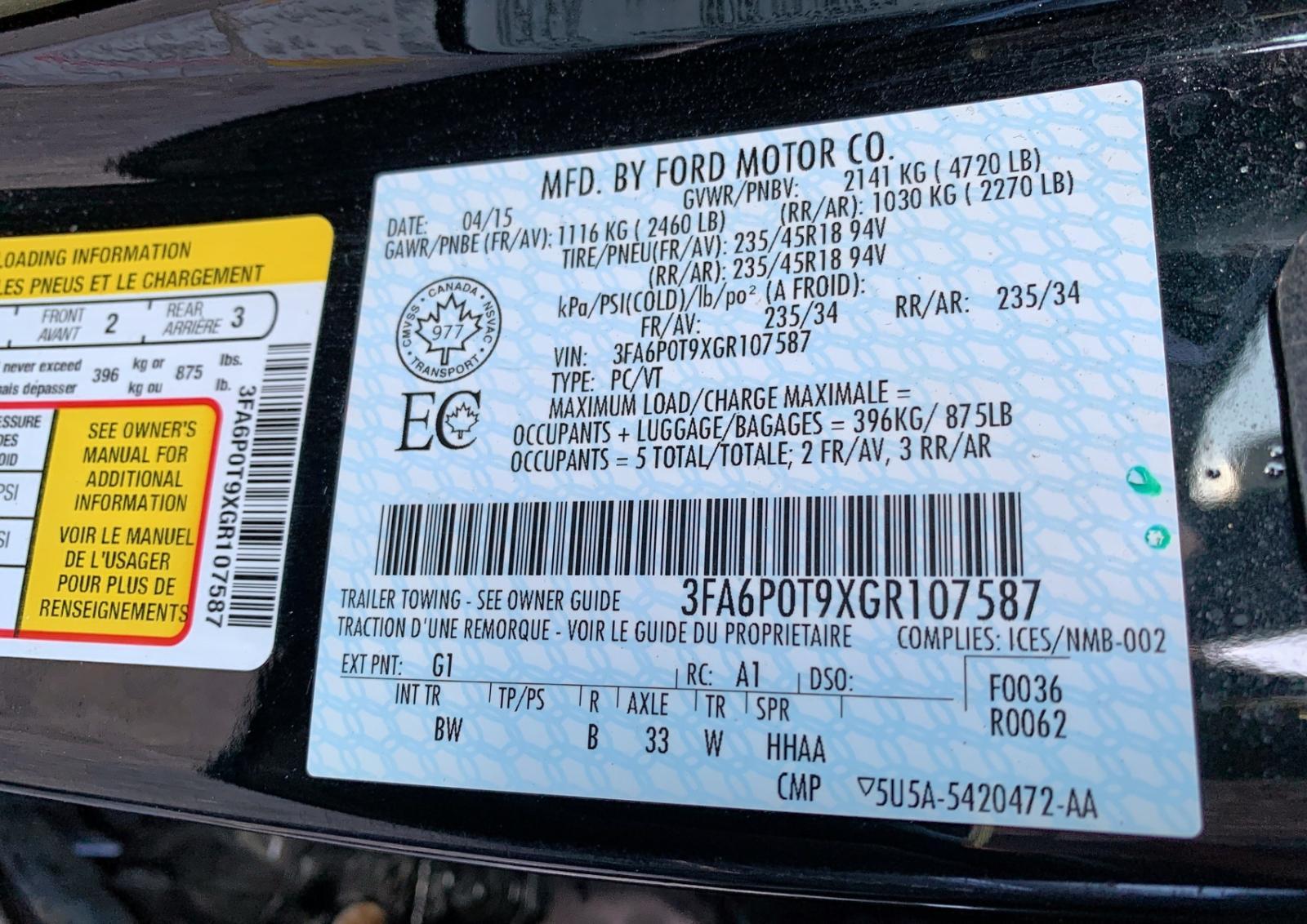 3FA6P0T9XGR107587 - 2016 Ford Fusion Se 2.0L