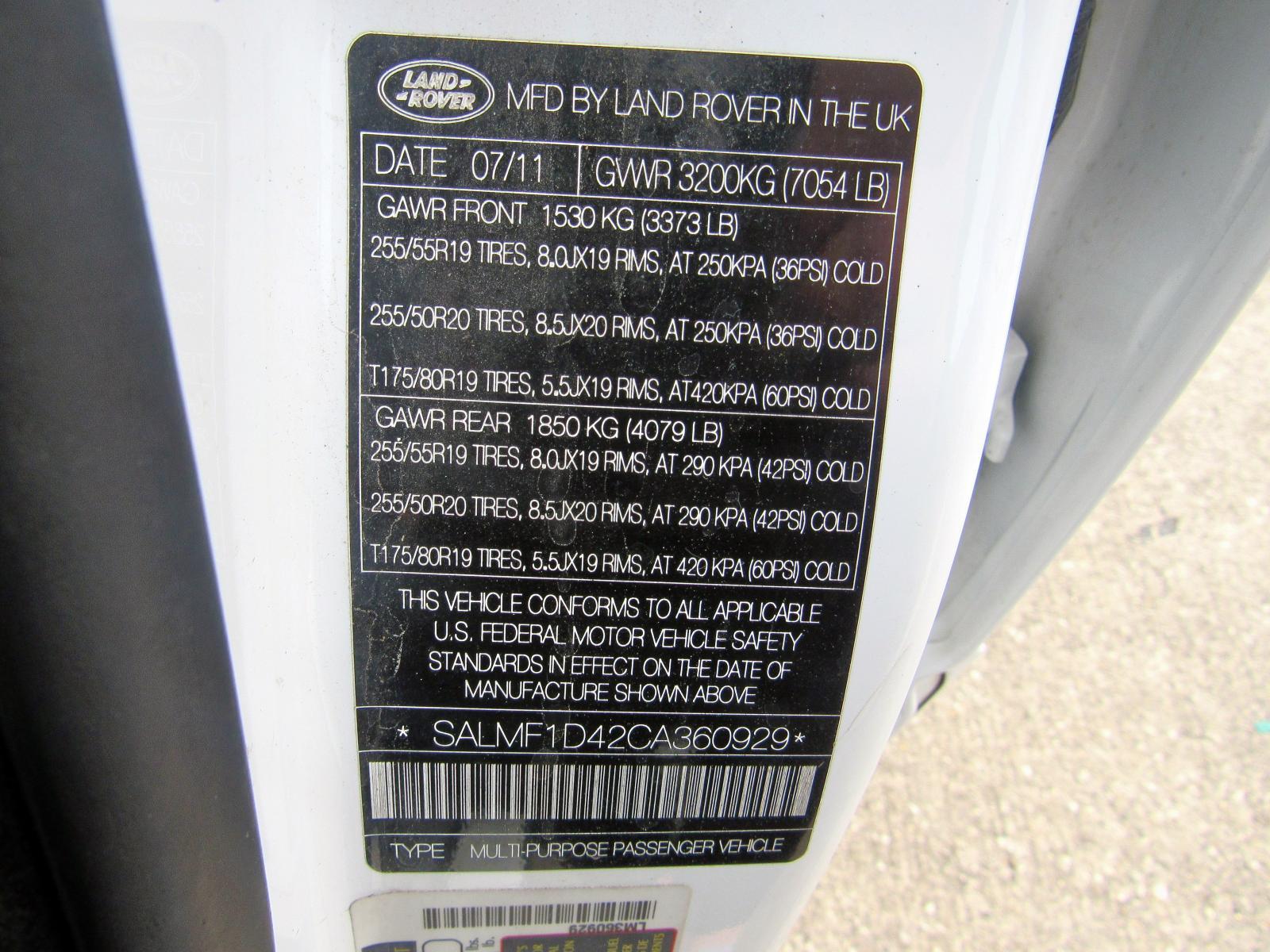 SALMF1D42CA360929 - 2012 Land Rover Range Rove 5.0L