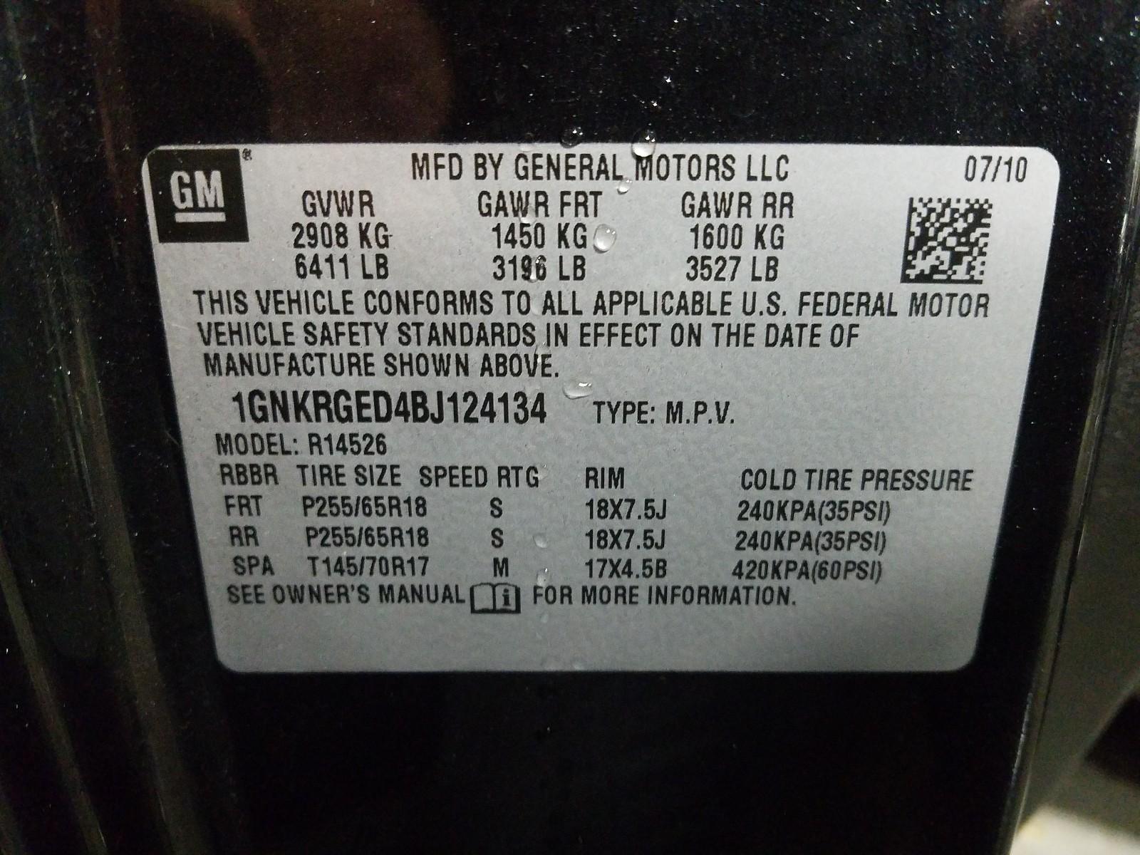 1GNKRGED4BJ124134 - 2011 Chevrolet Traverse L 3.6L