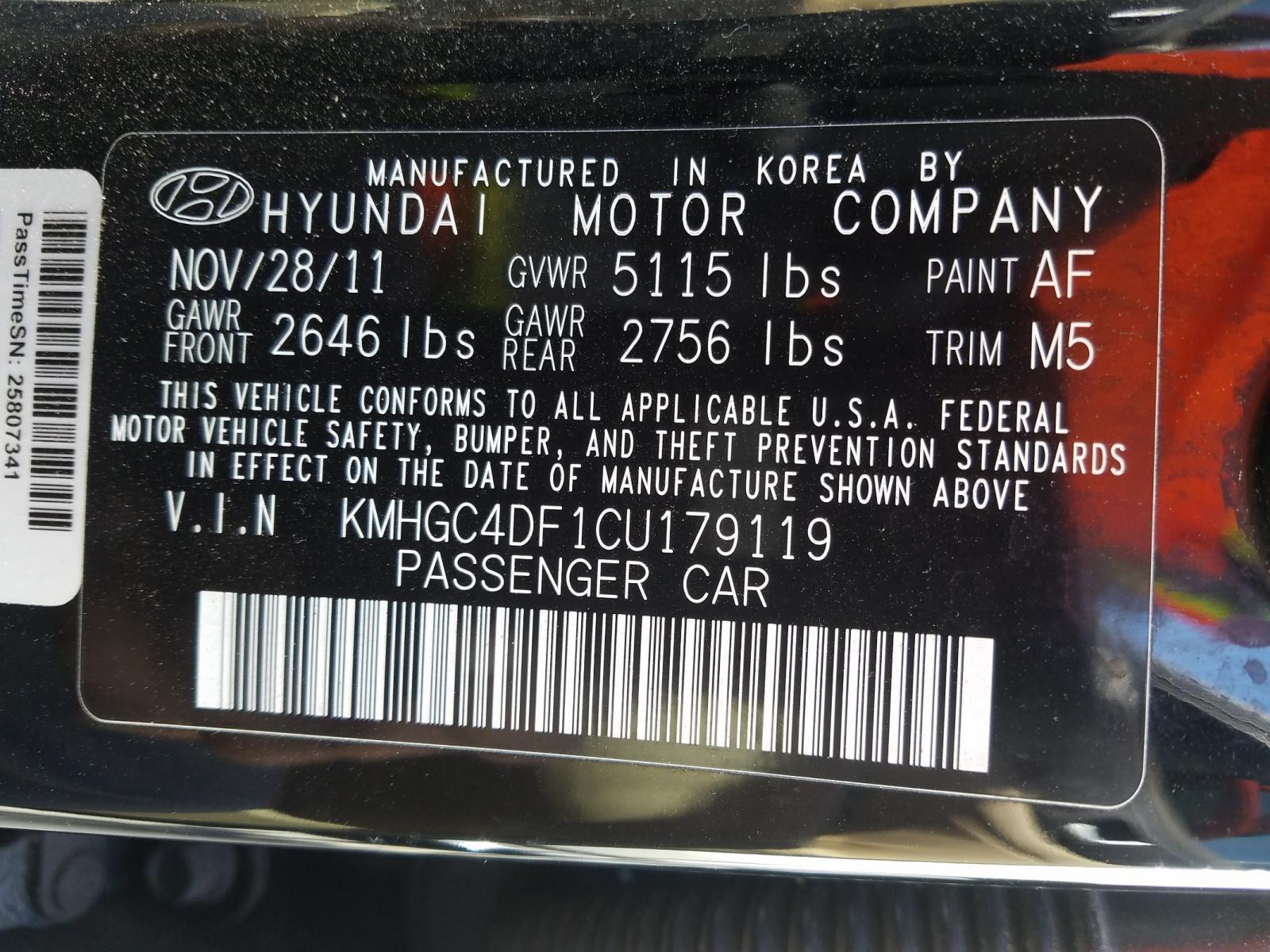 2012 Hyundai Genesis 4. 4.6L