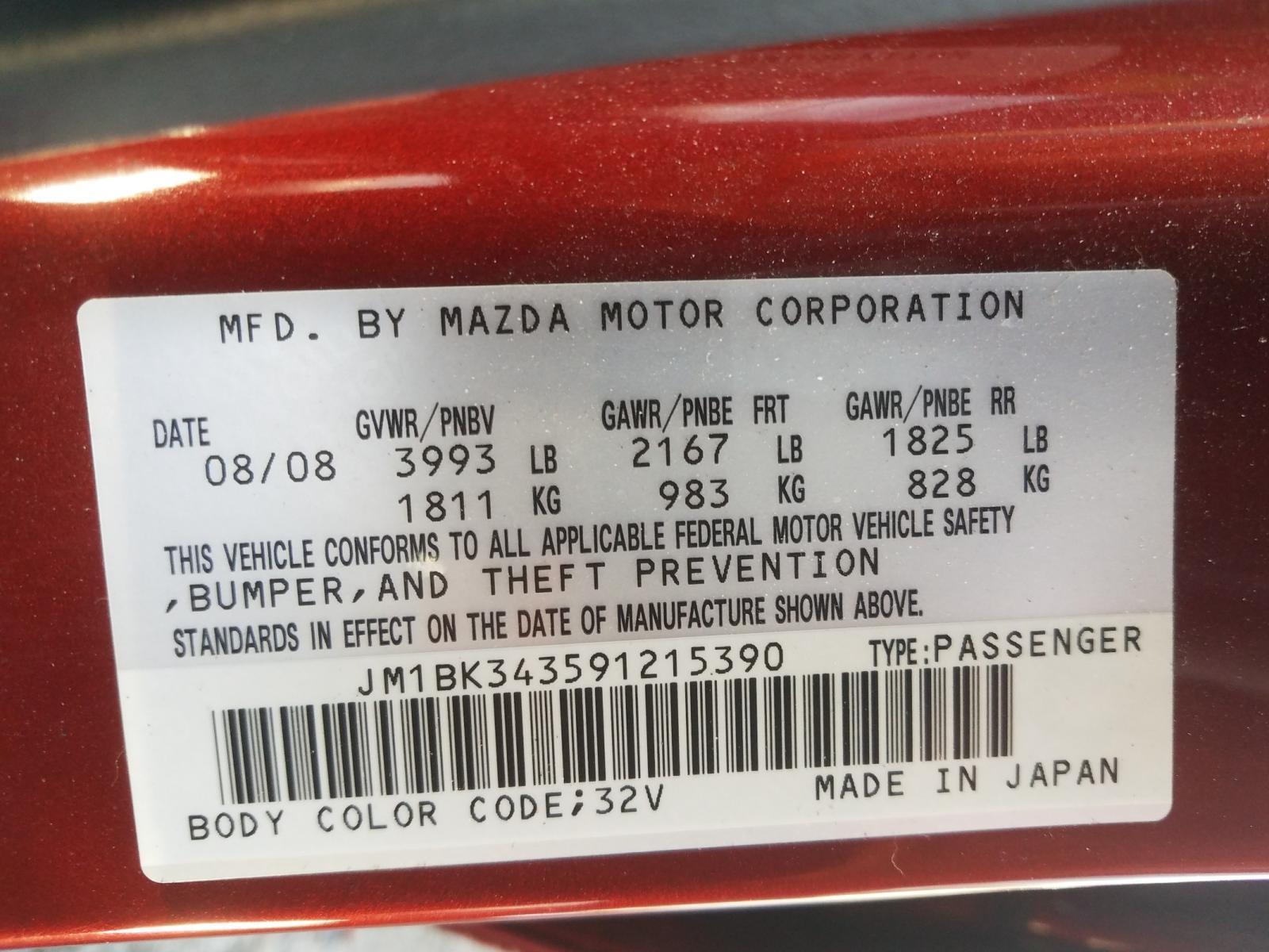JM1BK343591215390 - 2009 Mazda 3 S 2.3L